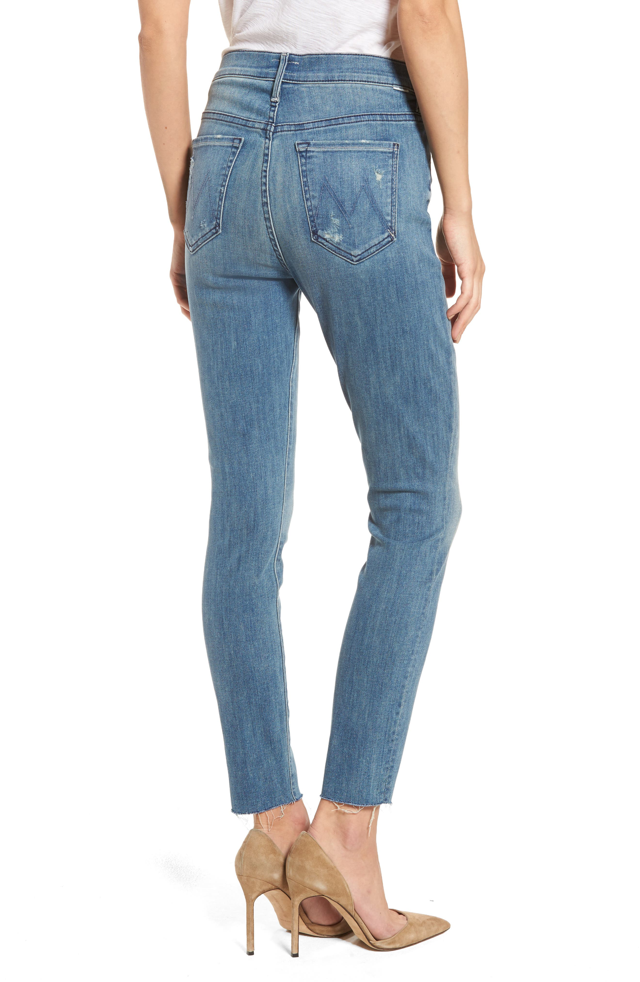 MOTHER, The Stunner Frayed Ankle Skinny Jeans, Alternate thumbnail 2, color, GRAFITTI GIRL