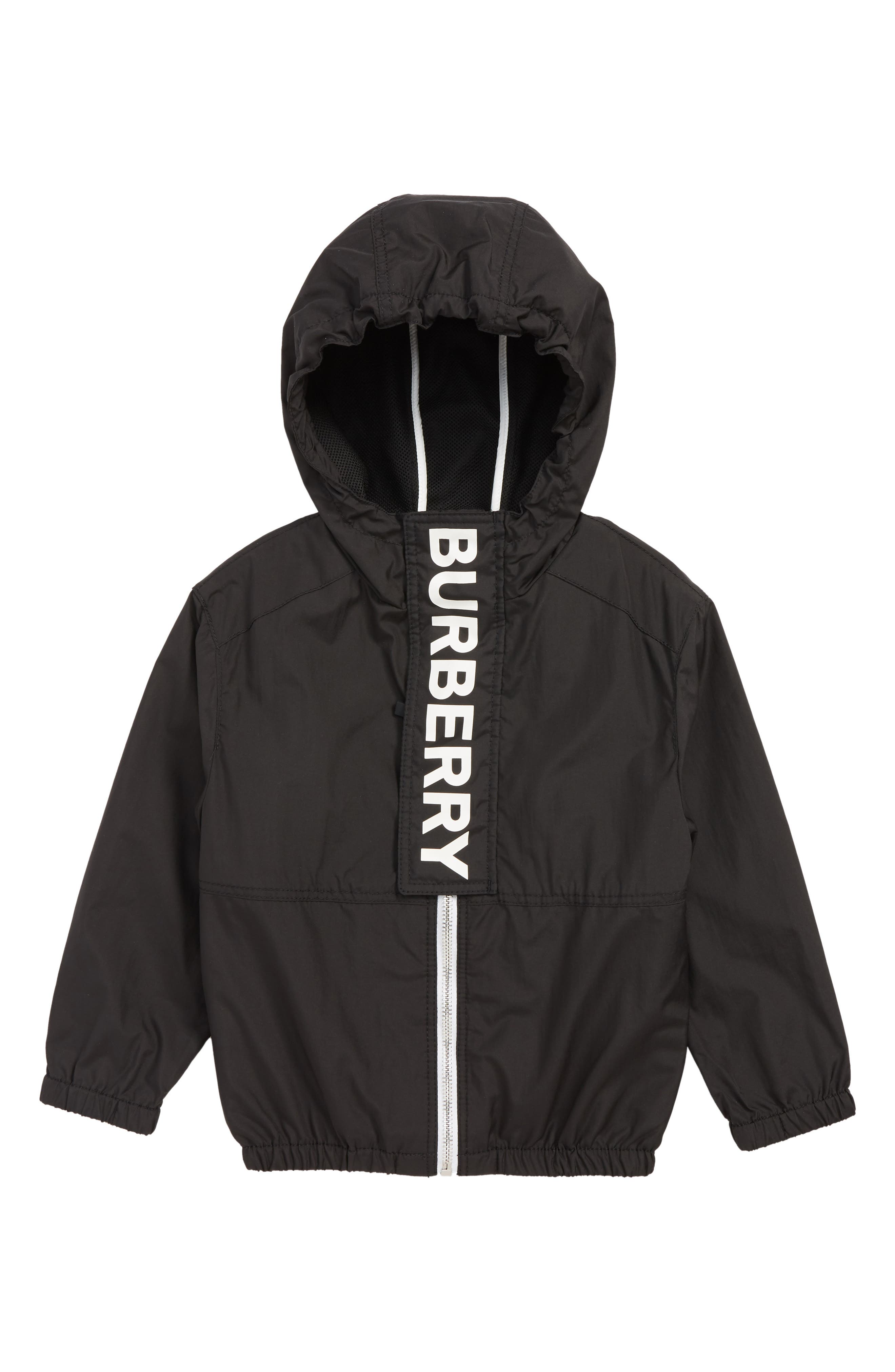 BURBERRY, Austin Logo Hooded Windbreaker, Main thumbnail 1, color, BLACK