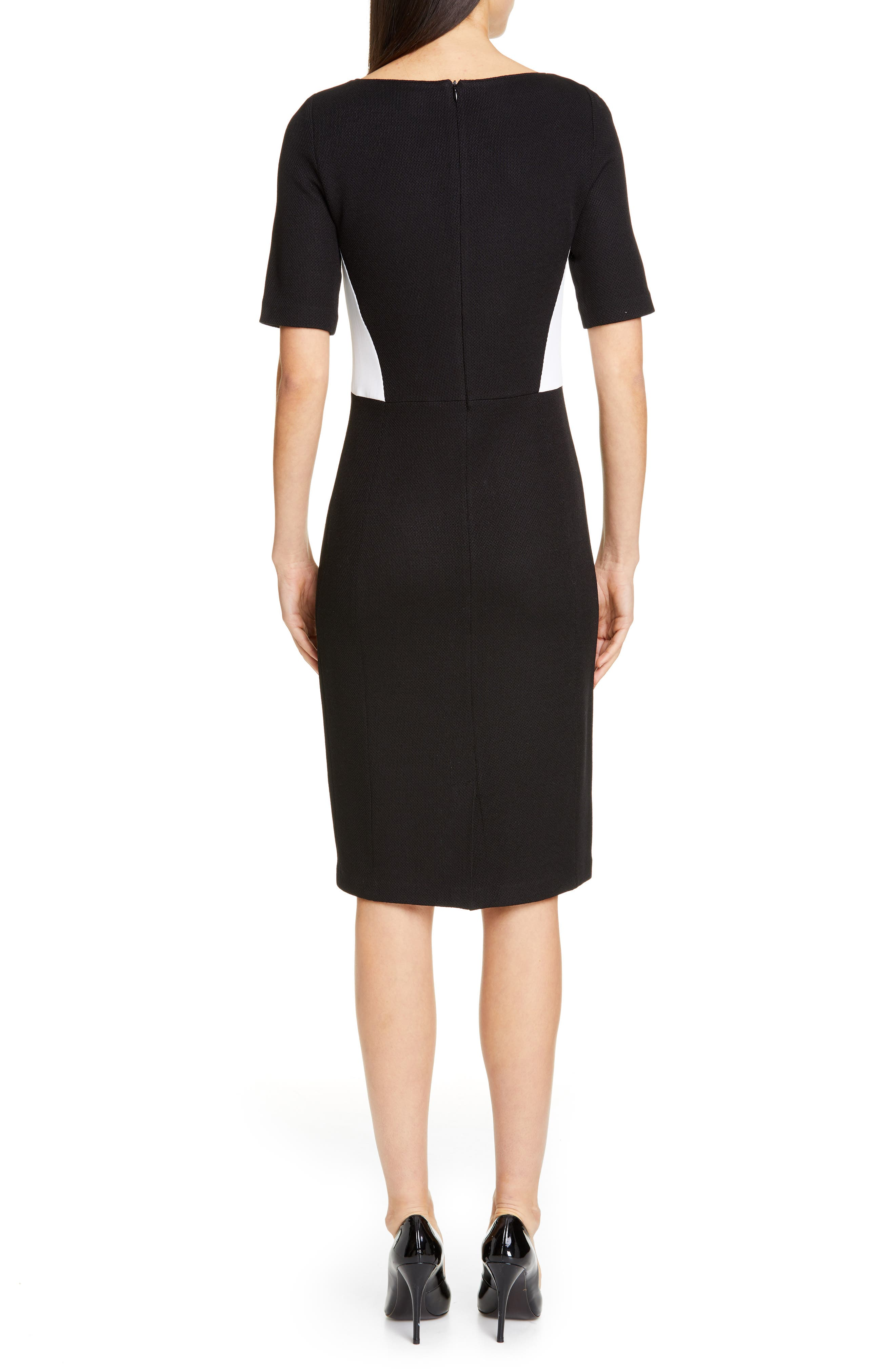 ST. JOHN COLLECTION, Piqué Milano Knit Dress, Alternate thumbnail 2, color, CAVIAR/ BIANCO