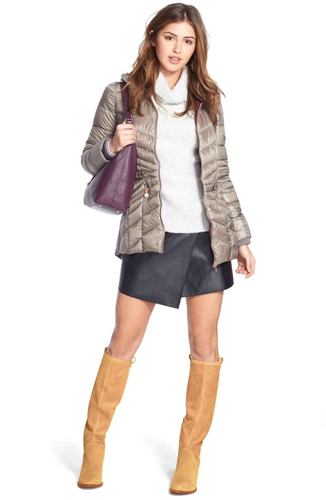 1.STATE, Faux Leather Wrap Skirt, Alternate thumbnail 4, color, 006