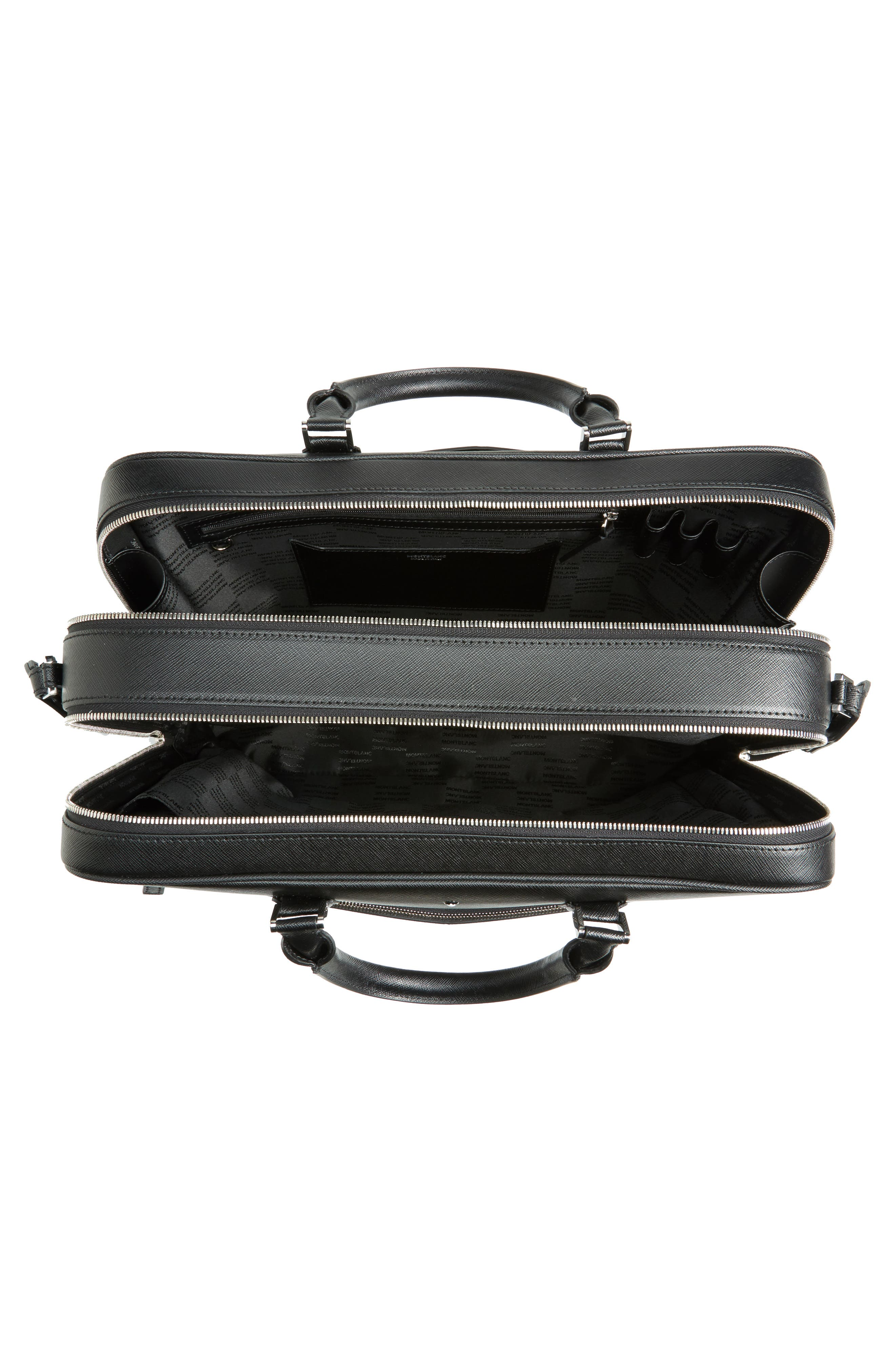 MONTBLANC, Sartorial Leather Briefcase, Alternate thumbnail 4, color, 001