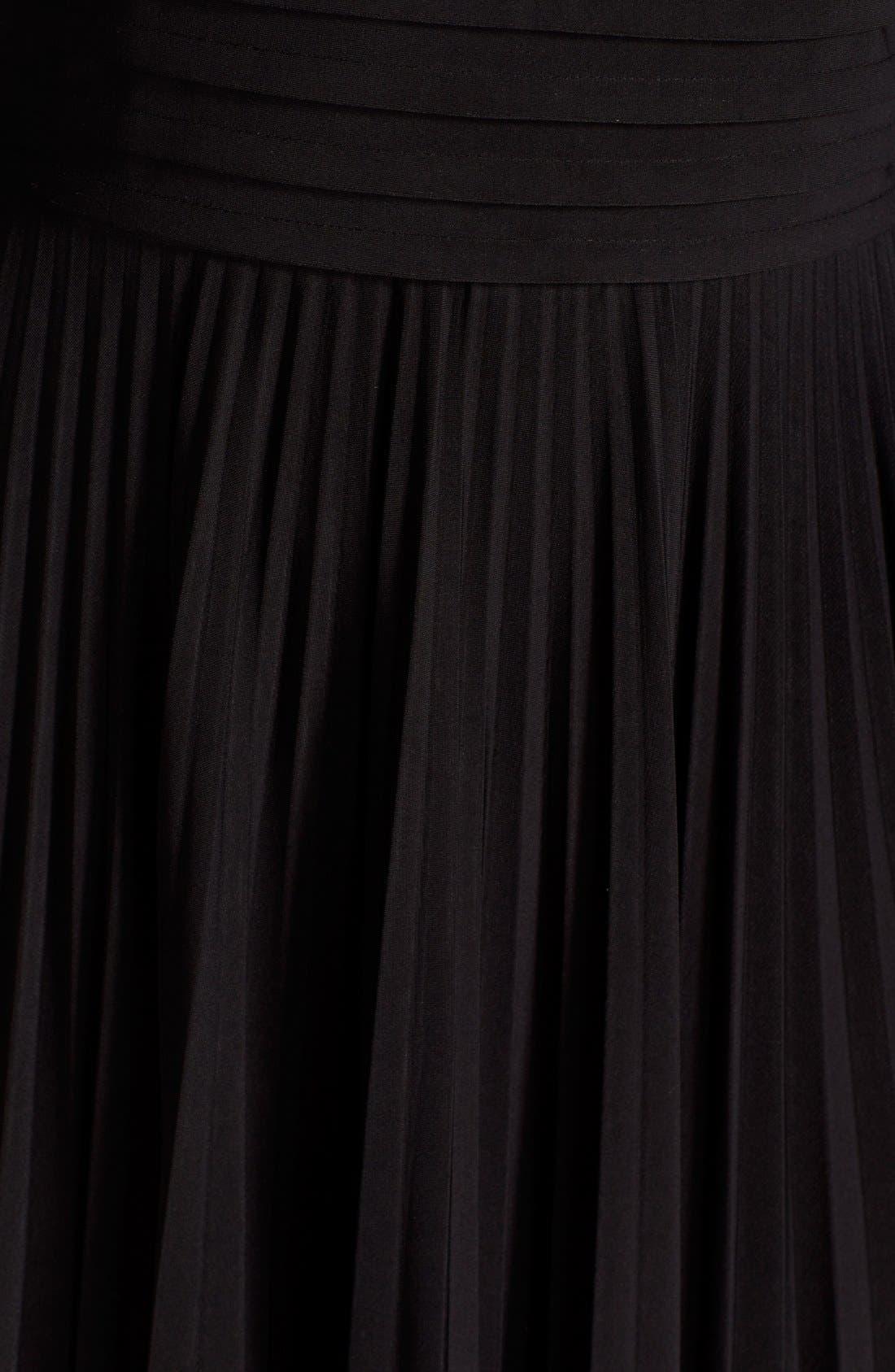 ELIZA J, Pleated Jersey Fit & Flare Dress, Alternate thumbnail 6, color, 001