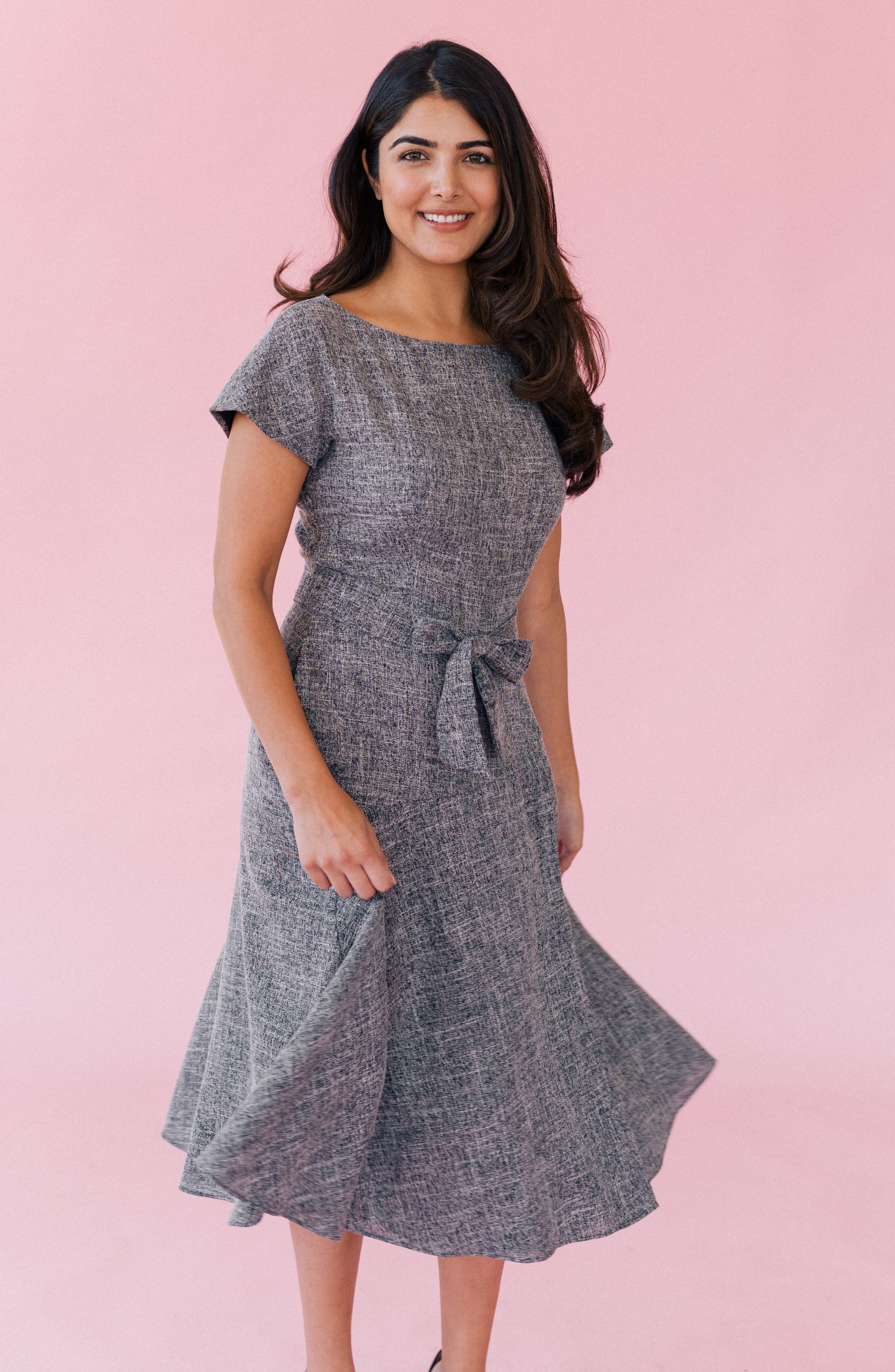 GAL MEETS GLAM COLLECTION, Barbara Yarn Dyed Boat Neck Dress, Alternate thumbnail 6, color, 060