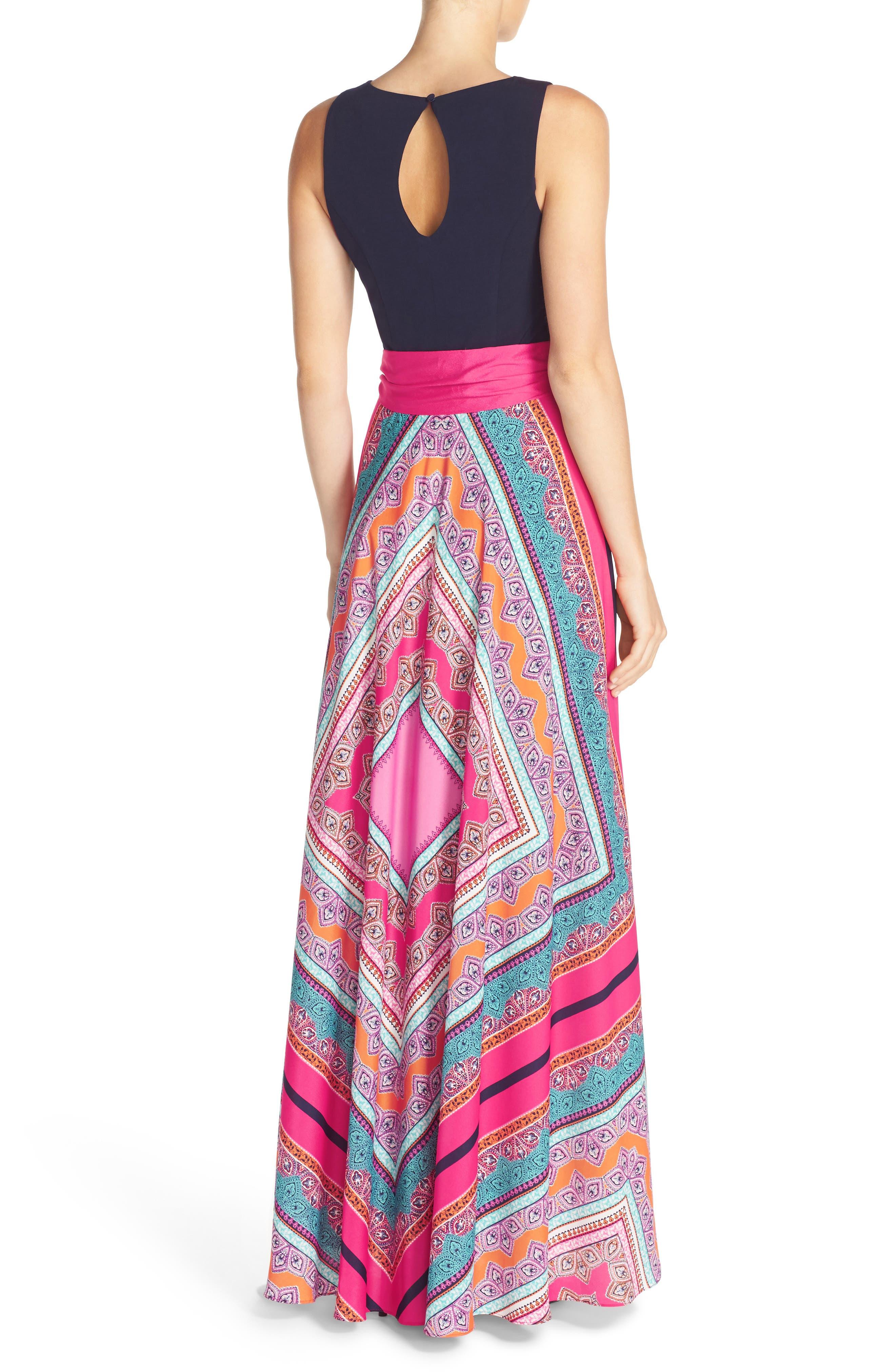 ELIZA J, Scarf Print Jersey & Crêpe de Chine Maxi Dress, Alternate thumbnail 2, color, PINK