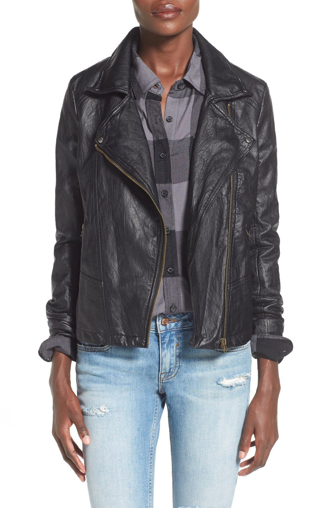 SUN & SHADOW, Faux Leather Moto Jacket, Main thumbnail 1, color, 001