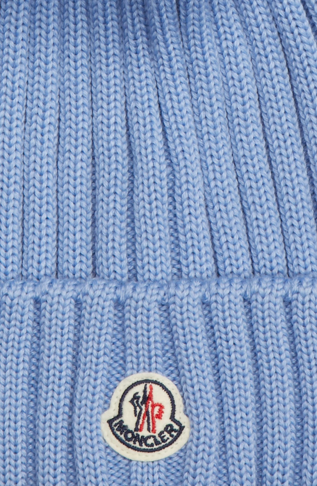 MONCLER, Genuine Fox Fur Pom Wool Beanie, Alternate thumbnail 2, color, BLUE