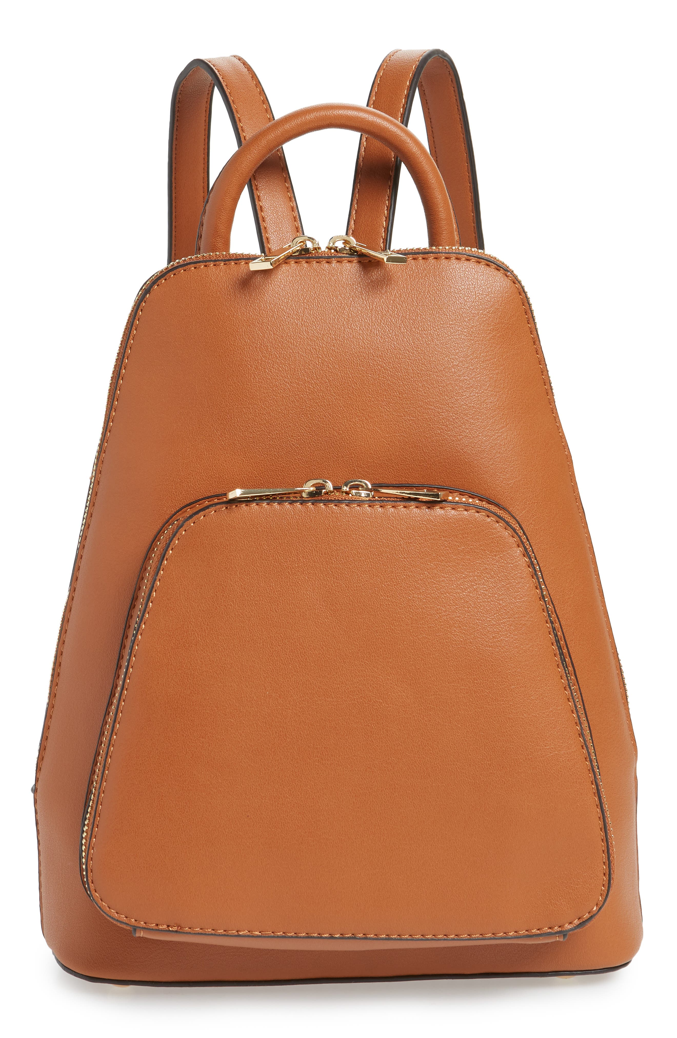 SOLE SOCIETY, Aushan Faux Leather Backpack, Main thumbnail 1, color, COGNAC