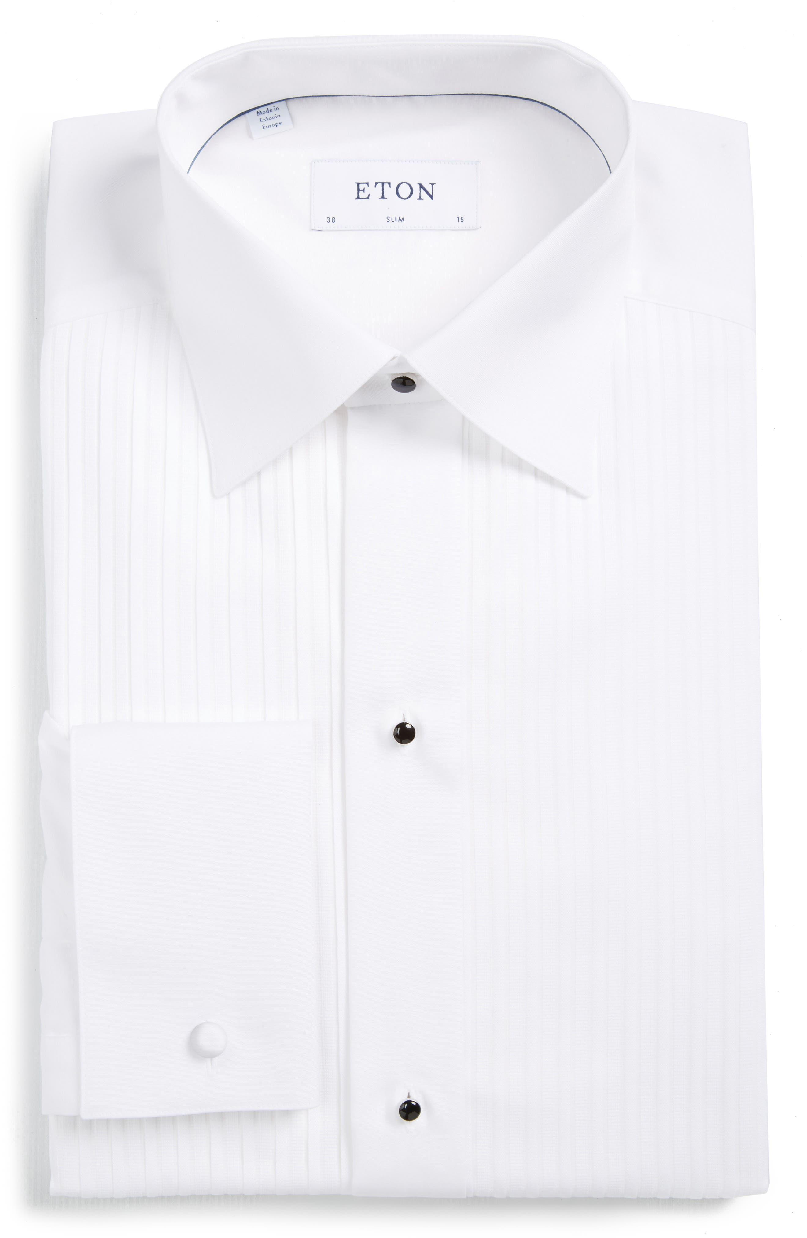 ETON, Slim Fit Pleated Bib Tuxedo Shirt, Main thumbnail 1, color, WHITE