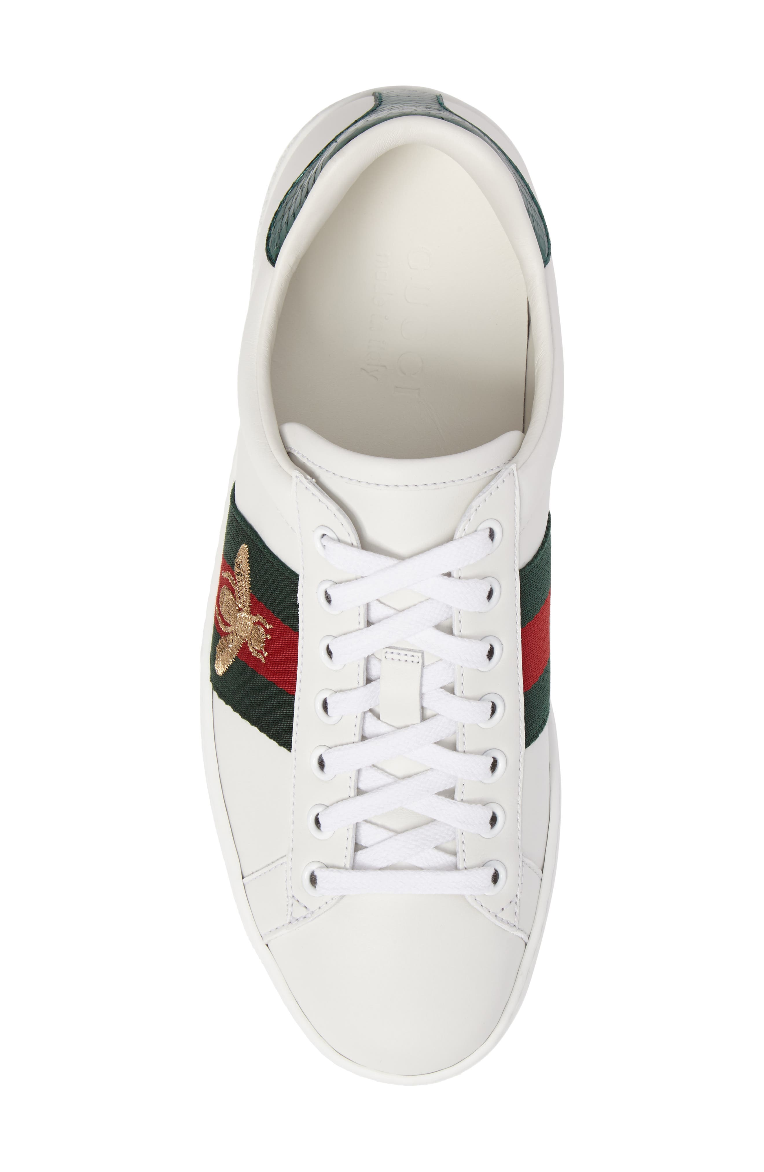 GUCCI, New Ace Sneaker, Alternate thumbnail 5, color, BIANCO MULTI LEATHER