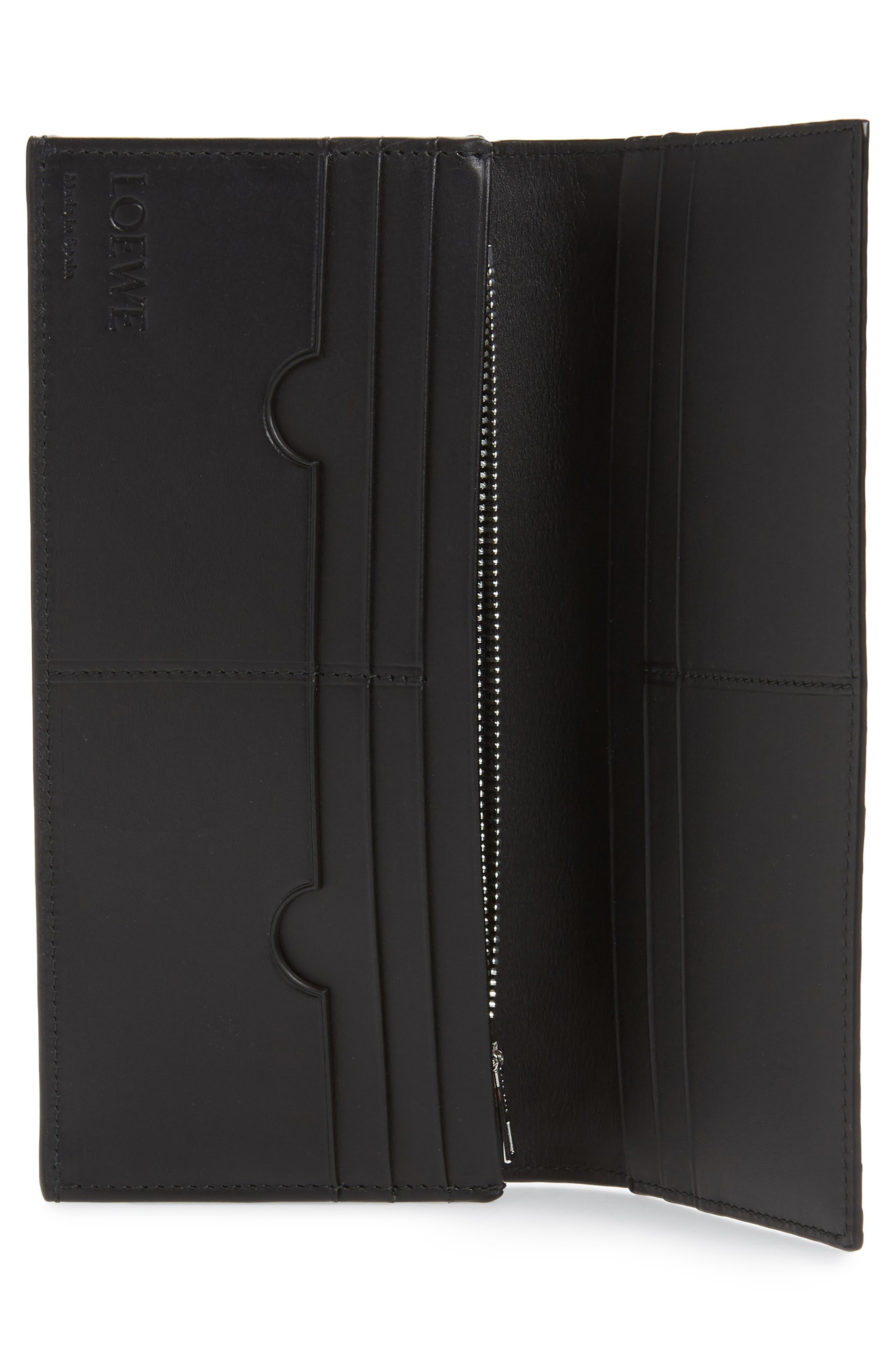 LOEWE, Bifold Leather Wallet, Alternate thumbnail 2, color, BLACK