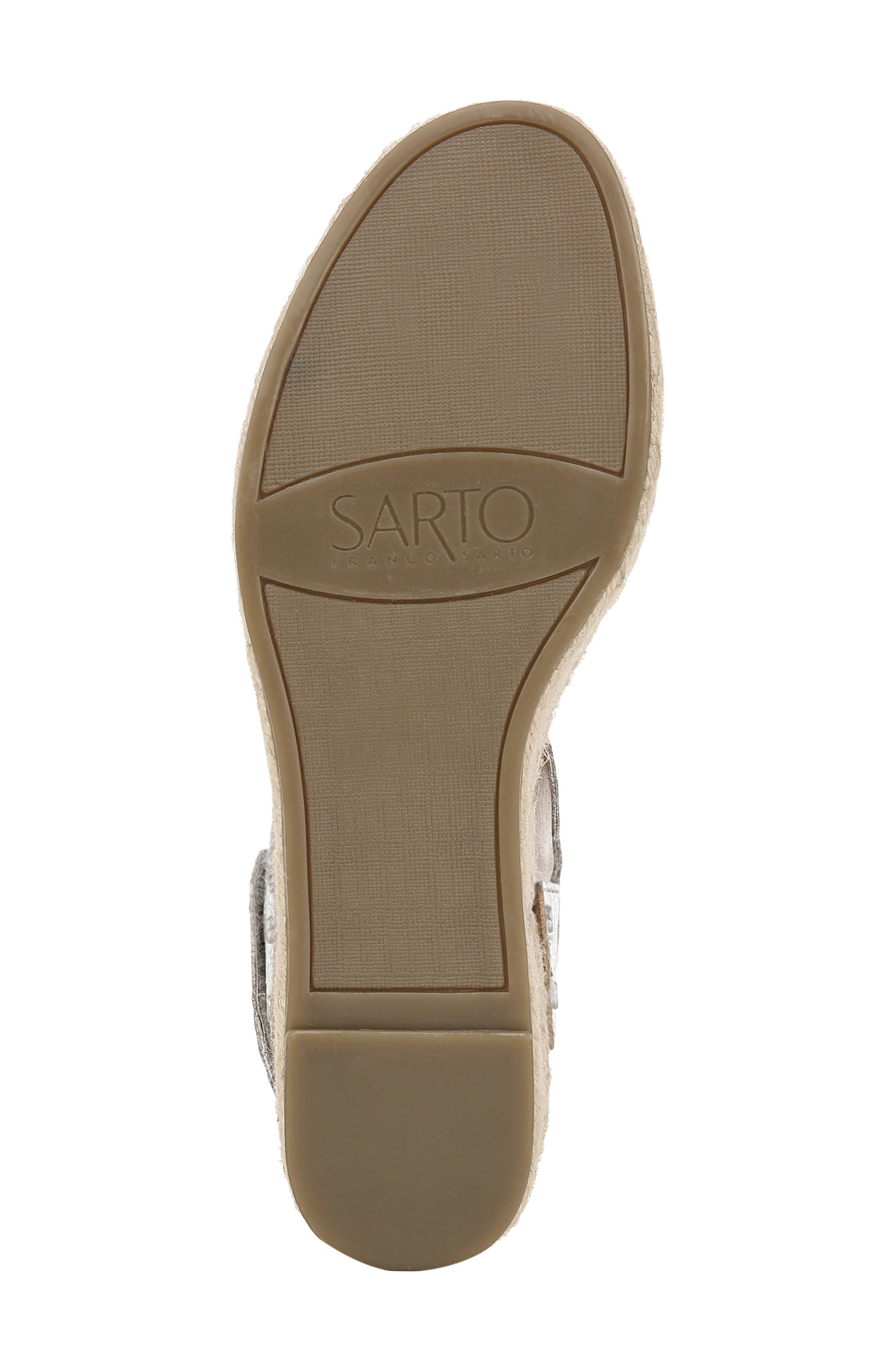 SARTO BY FRANCO SARTO, Leo Platform Espadrille Sandal, Alternate thumbnail 6, color, SILVER LEATHER