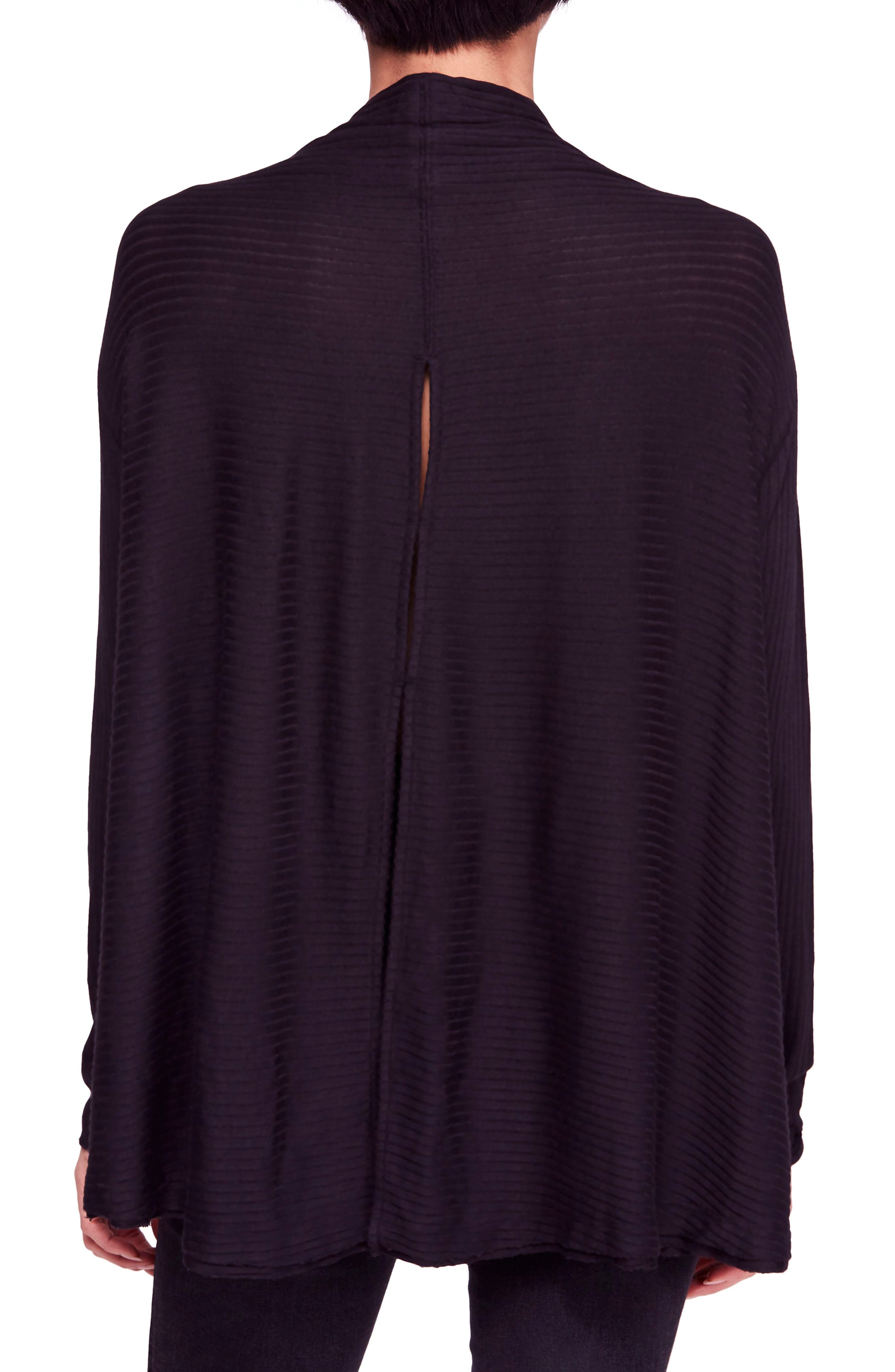 FREE PEOPLE, Lover Rib Split Back Pullover, Alternate thumbnail 2, color, 001