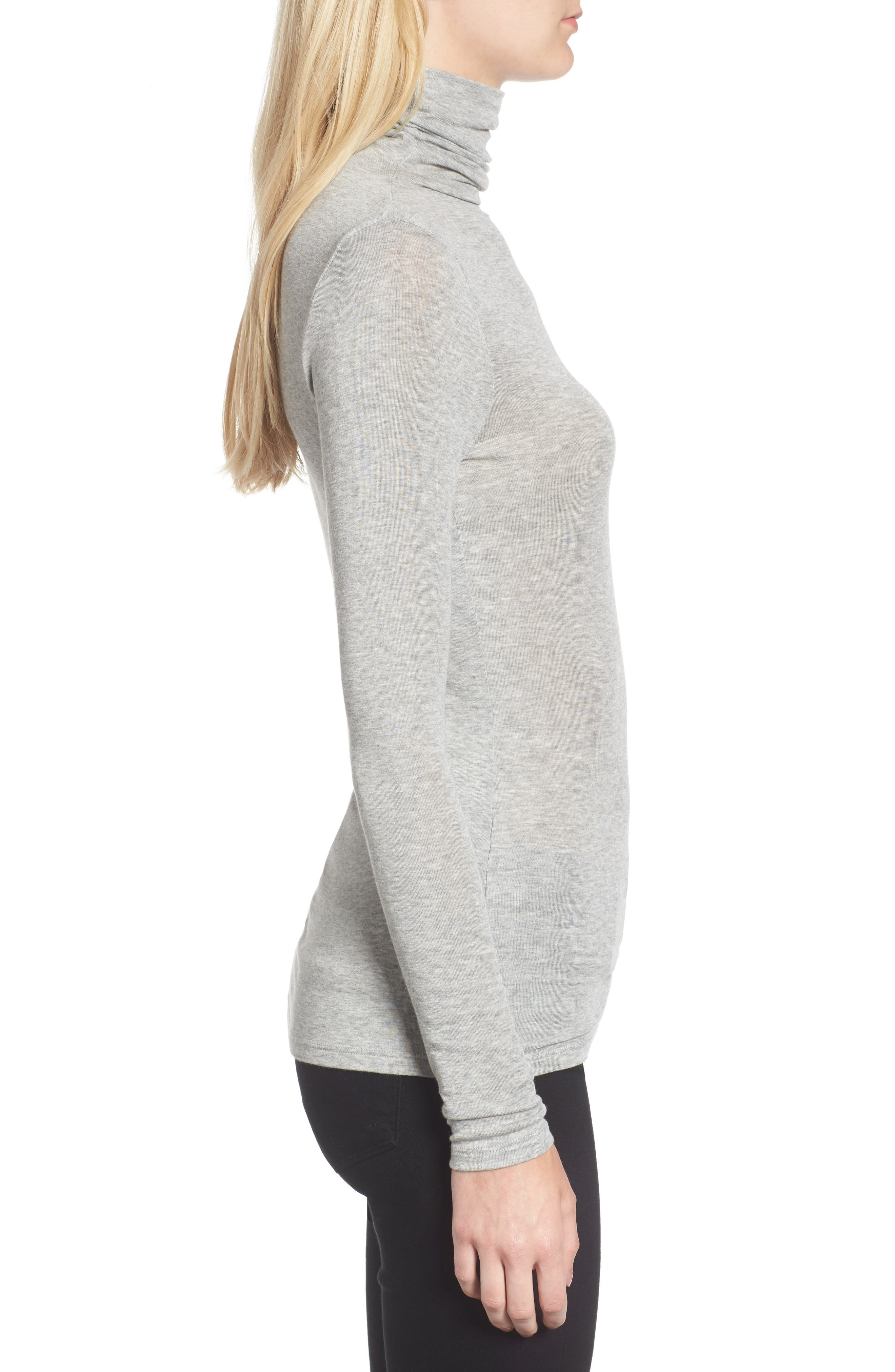 CHELSEA28, Layering Turtleneck, Alternate thumbnail 3, color, GREY HEATHER