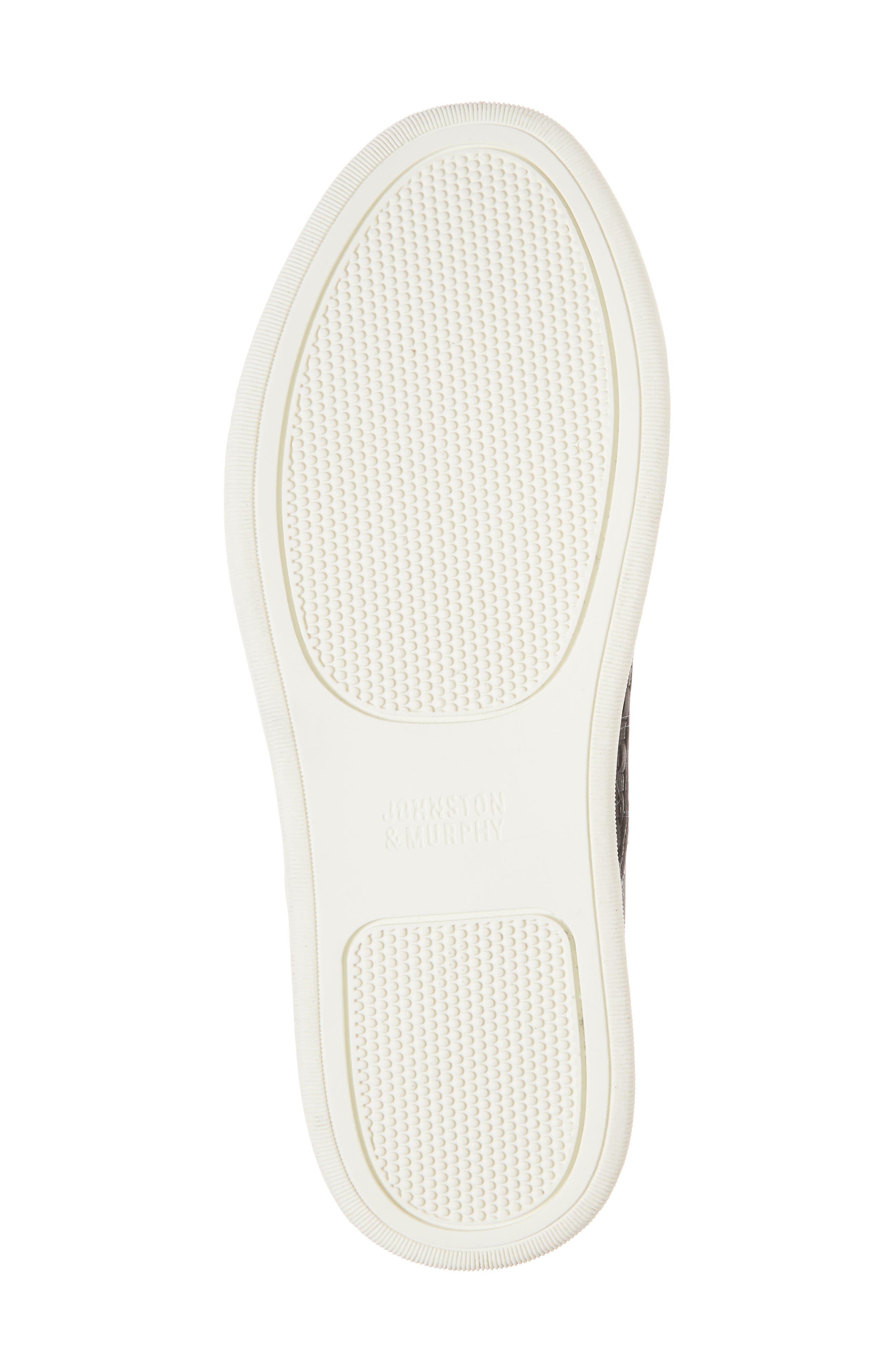 JOHNSTON & MURPHY, Evie Slip-On Sneaker, Alternate thumbnail 6, color, BLACK LEATHER