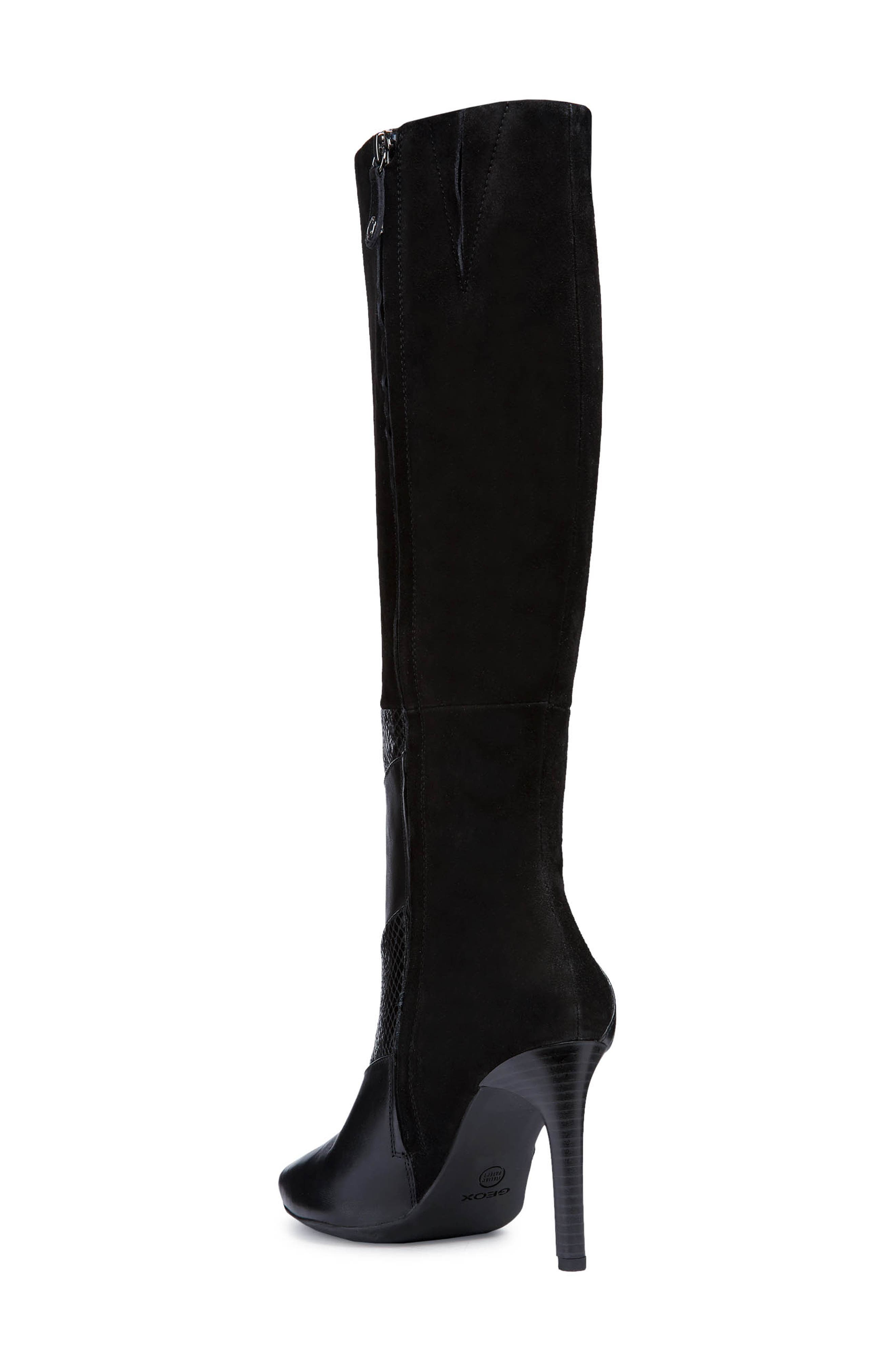 GEOX, Faviola Knee High Boot, Alternate thumbnail 2, color, BLACK LEATHER