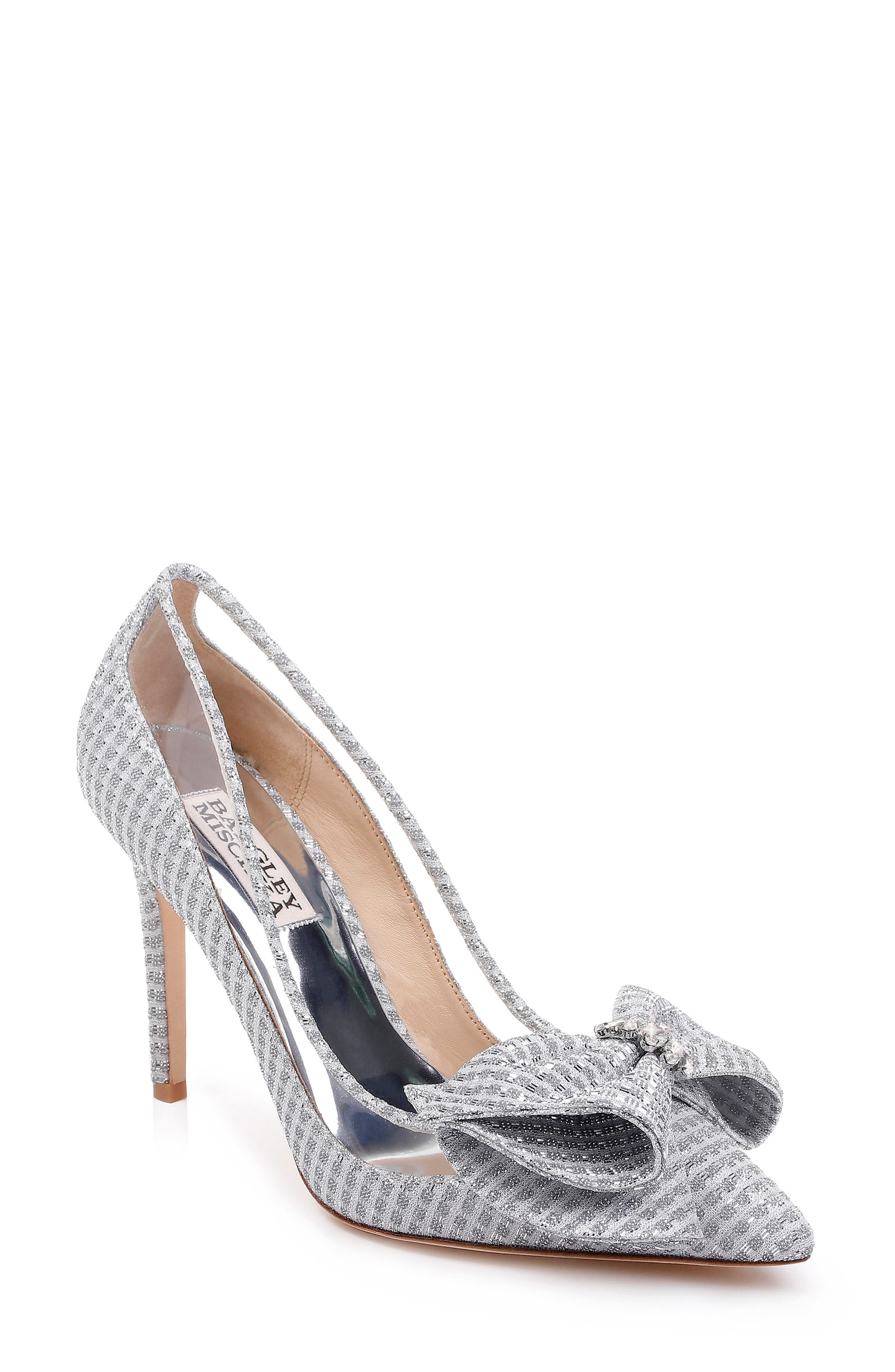 BADGLEY MISCHKA COLLECTION, Badgley Mischka Frances Bow Pump, Main thumbnail 1, color, SILVER GLITTER FABRIC