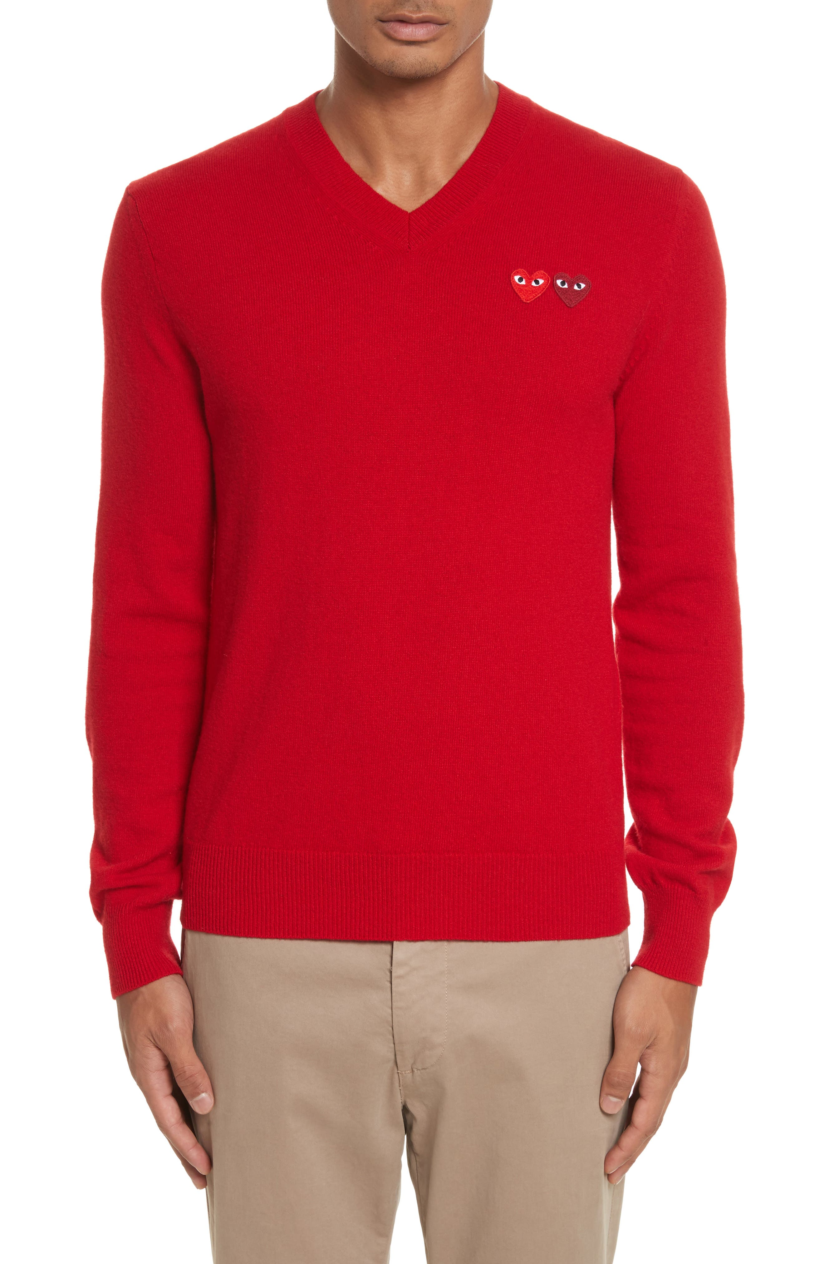 COMME DES GARÇONS PLAY, Wool Pullover, Main thumbnail 1, color, RED