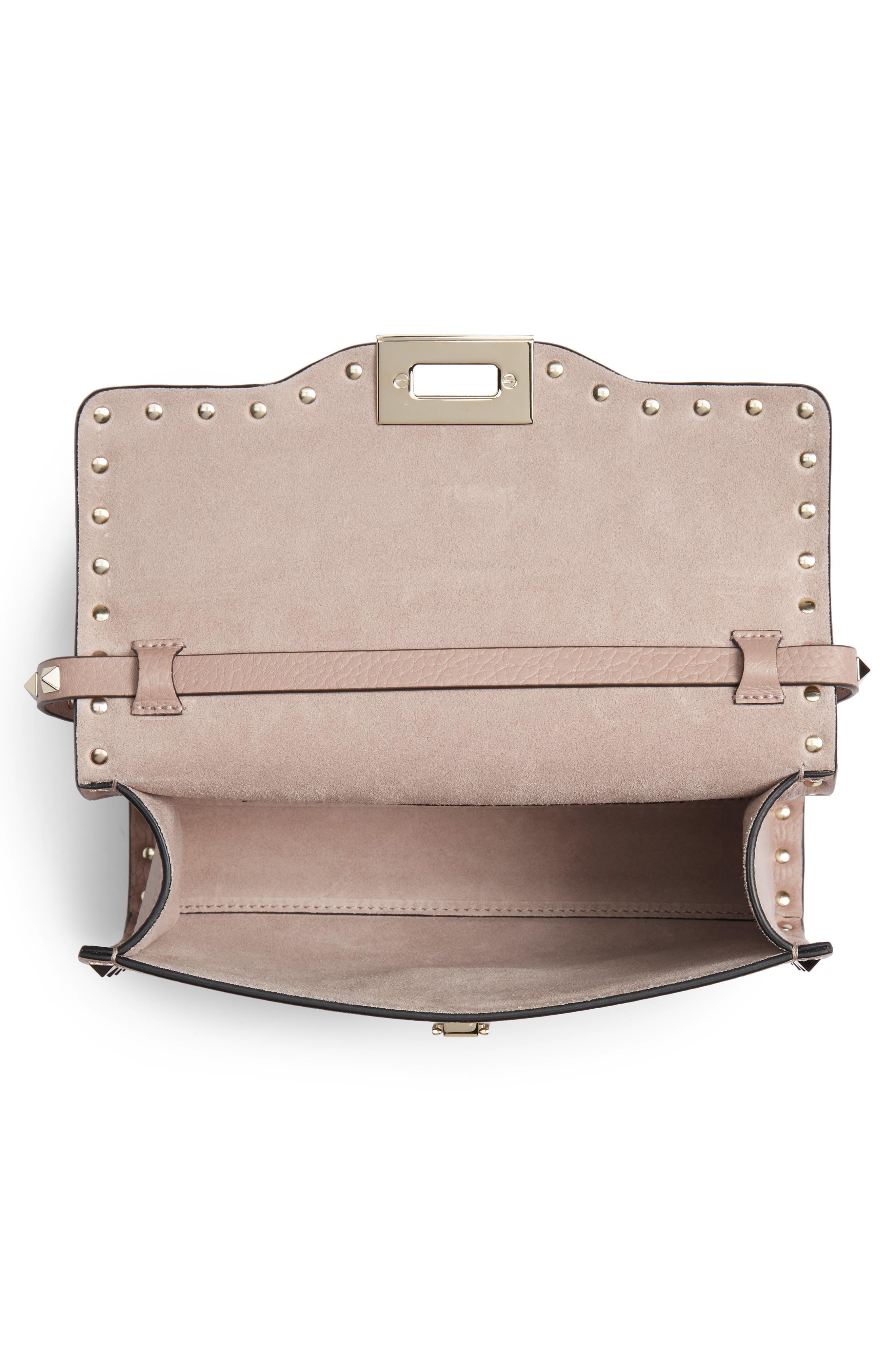 VALENTINO GARAVANI, Medium Rockstud Leather Crossbody Bag, Alternate thumbnail 4, color, POUDRE