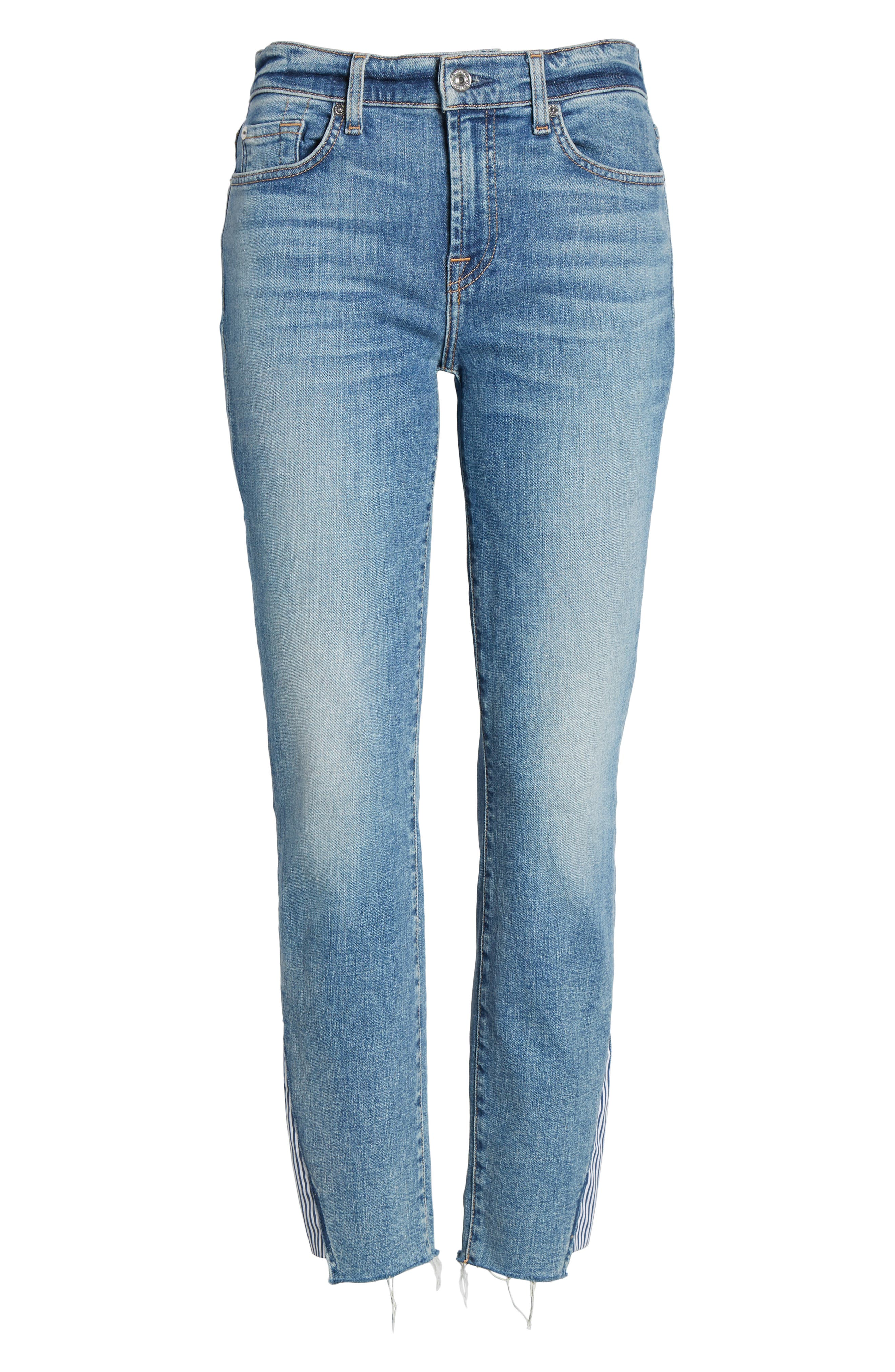 7 FOR ALL MANKIND<SUP>®</SUP>, Stripe Inset Ankle Skinny Jeans, Alternate thumbnail 7, color, SLOANE VINTAGE