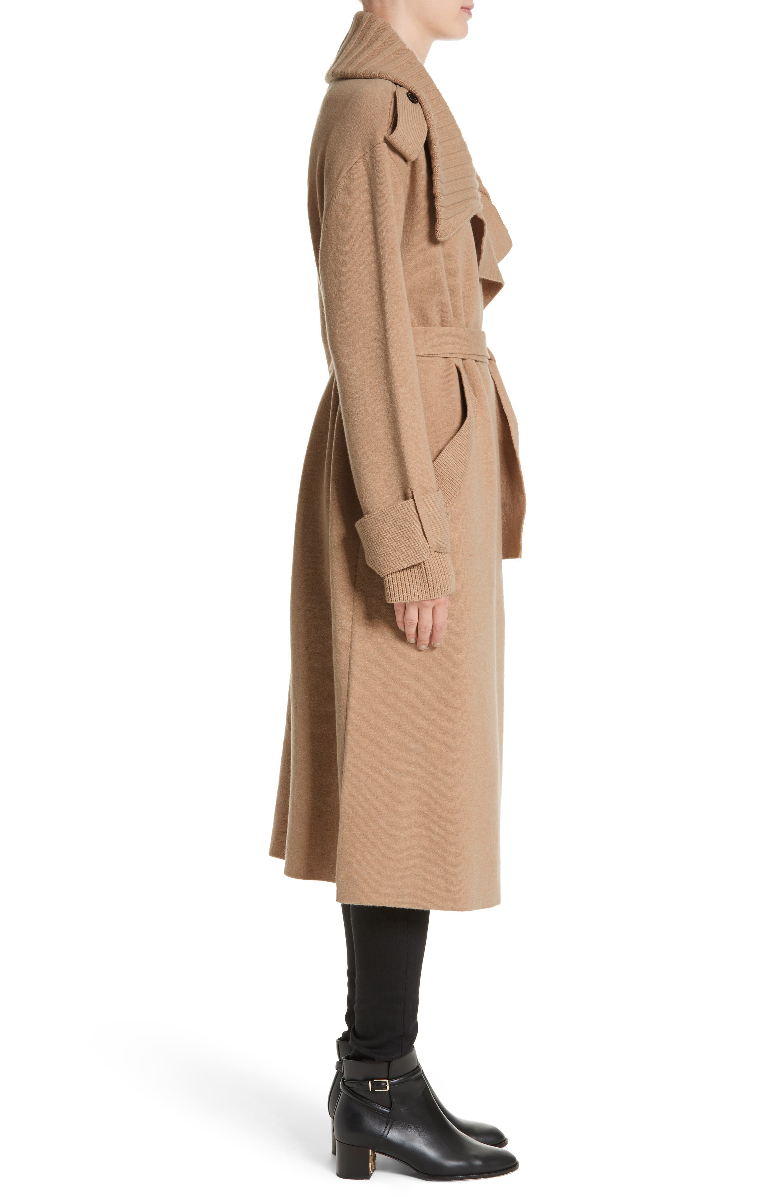 BURBERRY, Piota Wool Blend Knit Trench Coat, Alternate thumbnail 4, color, CAMEL
