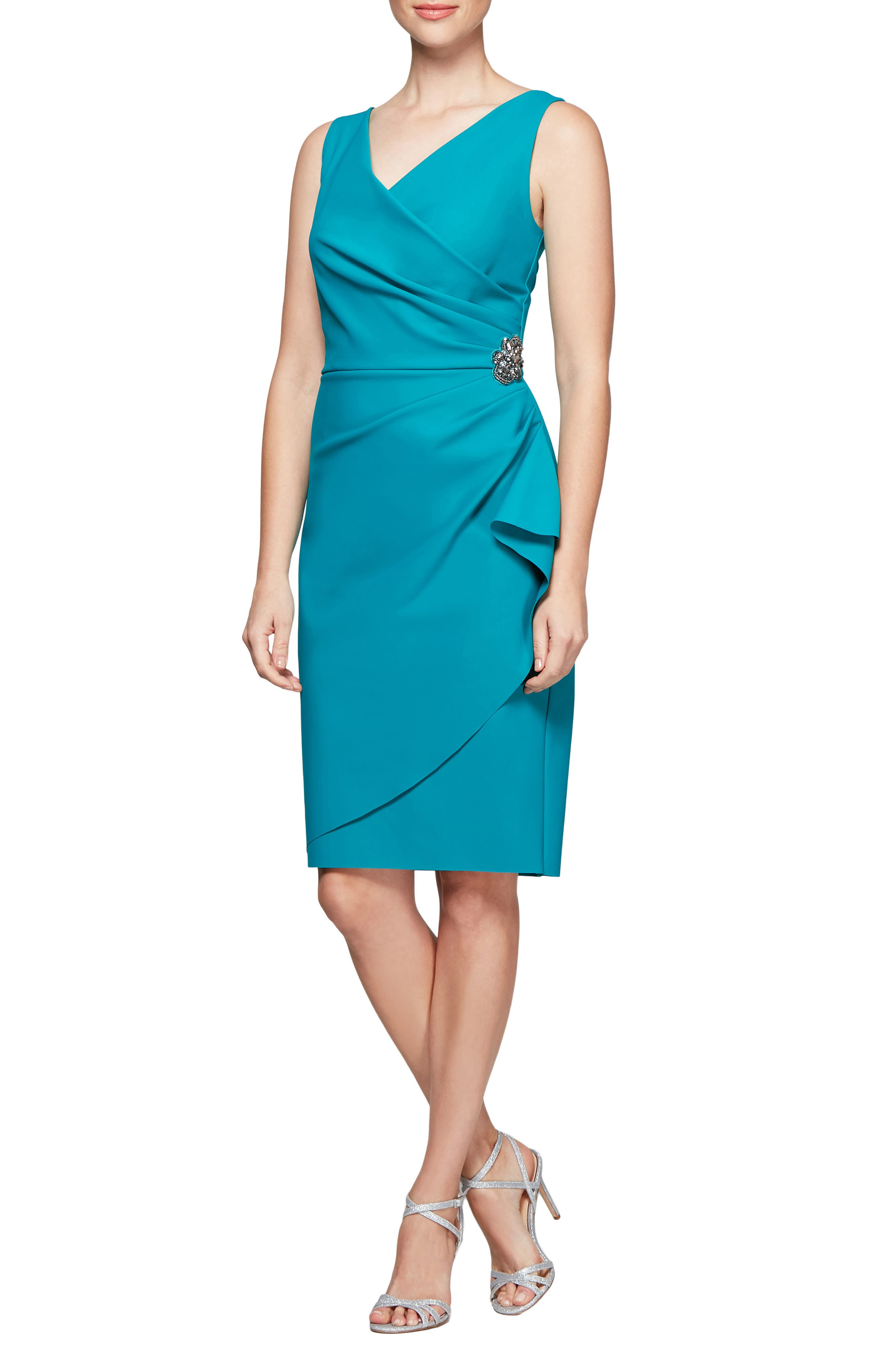 ALEX EVENINGS, Side Ruched Dress, Main thumbnail 1, color, TURQUOISE