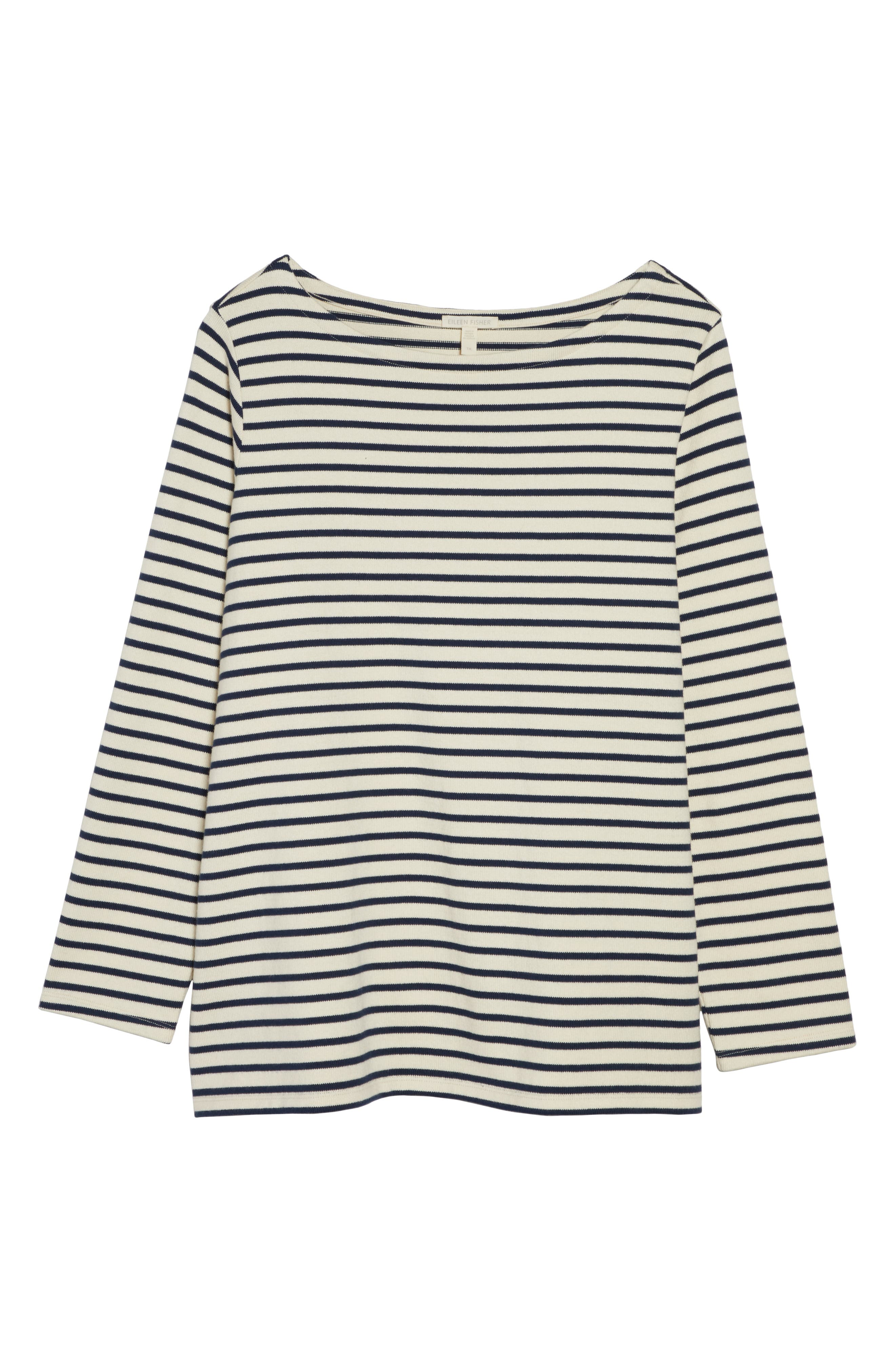 EILEEN FISHER, Seaside Stripe Bateau Neck Tunic, Alternate thumbnail 6, color, 103