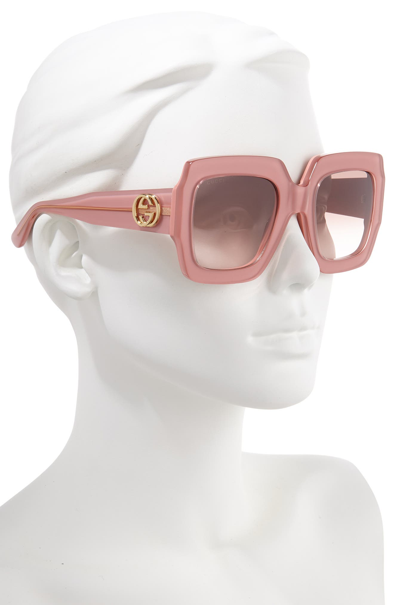 GUCCI, 54mm Square Sunglasses, Alternate thumbnail 2, color, SHNY MULTLAY GLOSS ROSE/BRN