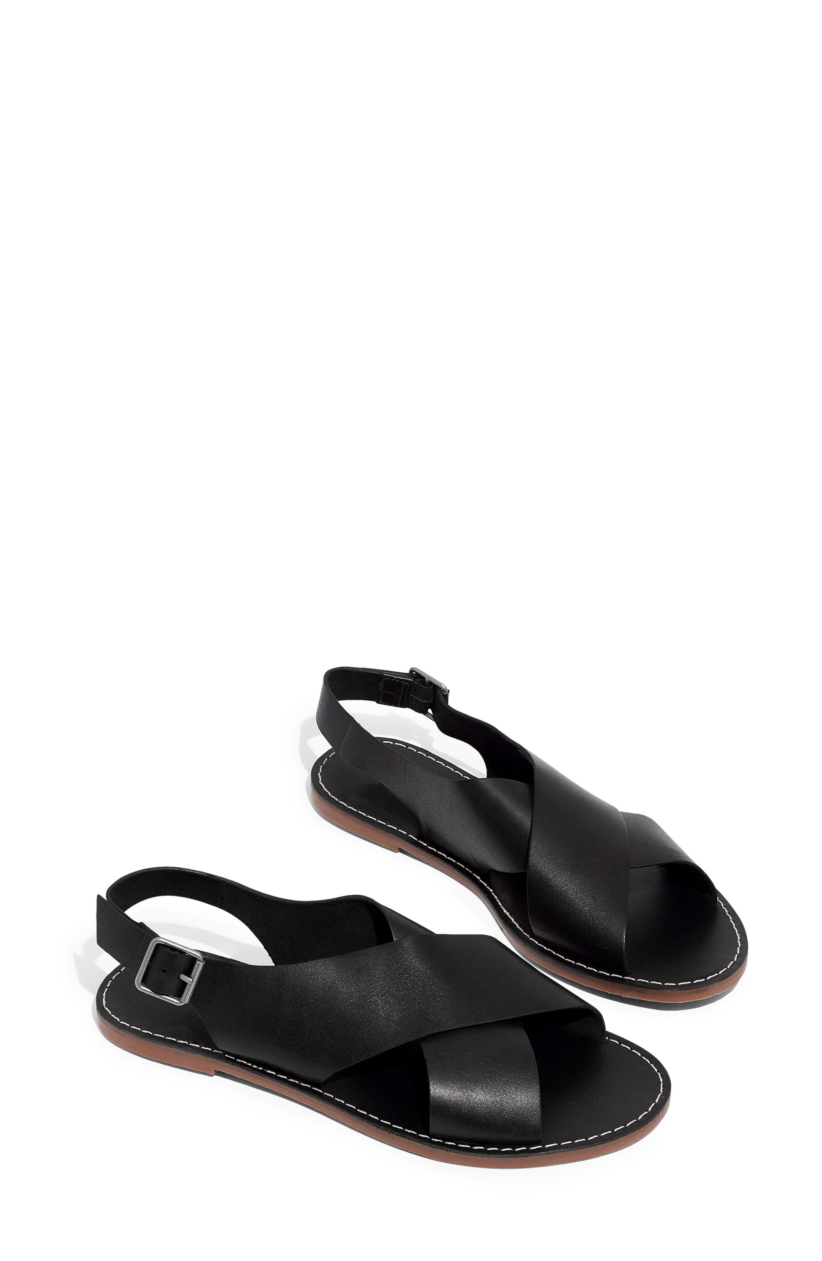 MADEWELL, Boardwalk Flat Sandal, Main thumbnail 1, color, TRUE BLACK