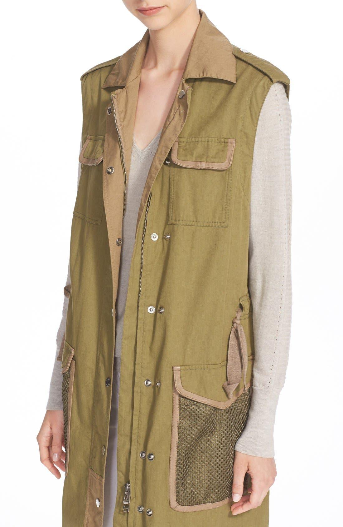 BELSTAFF, Leather Trim Tactical Cotton Gabardine Coat, Alternate thumbnail 5, color, 309