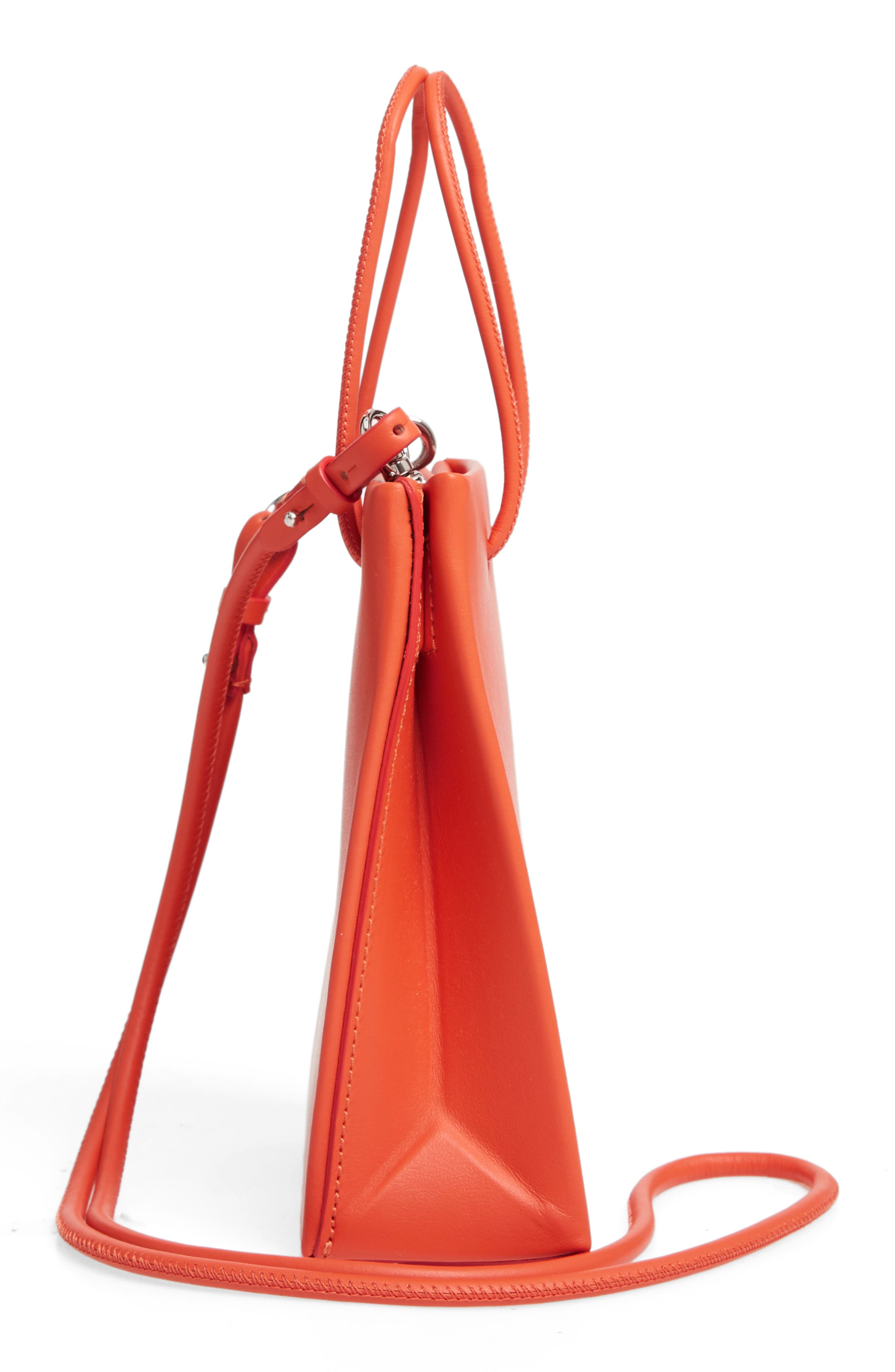 MEDEA, Prima Short Calfskin Leather Bag, Alternate thumbnail 5, color, ORANGE