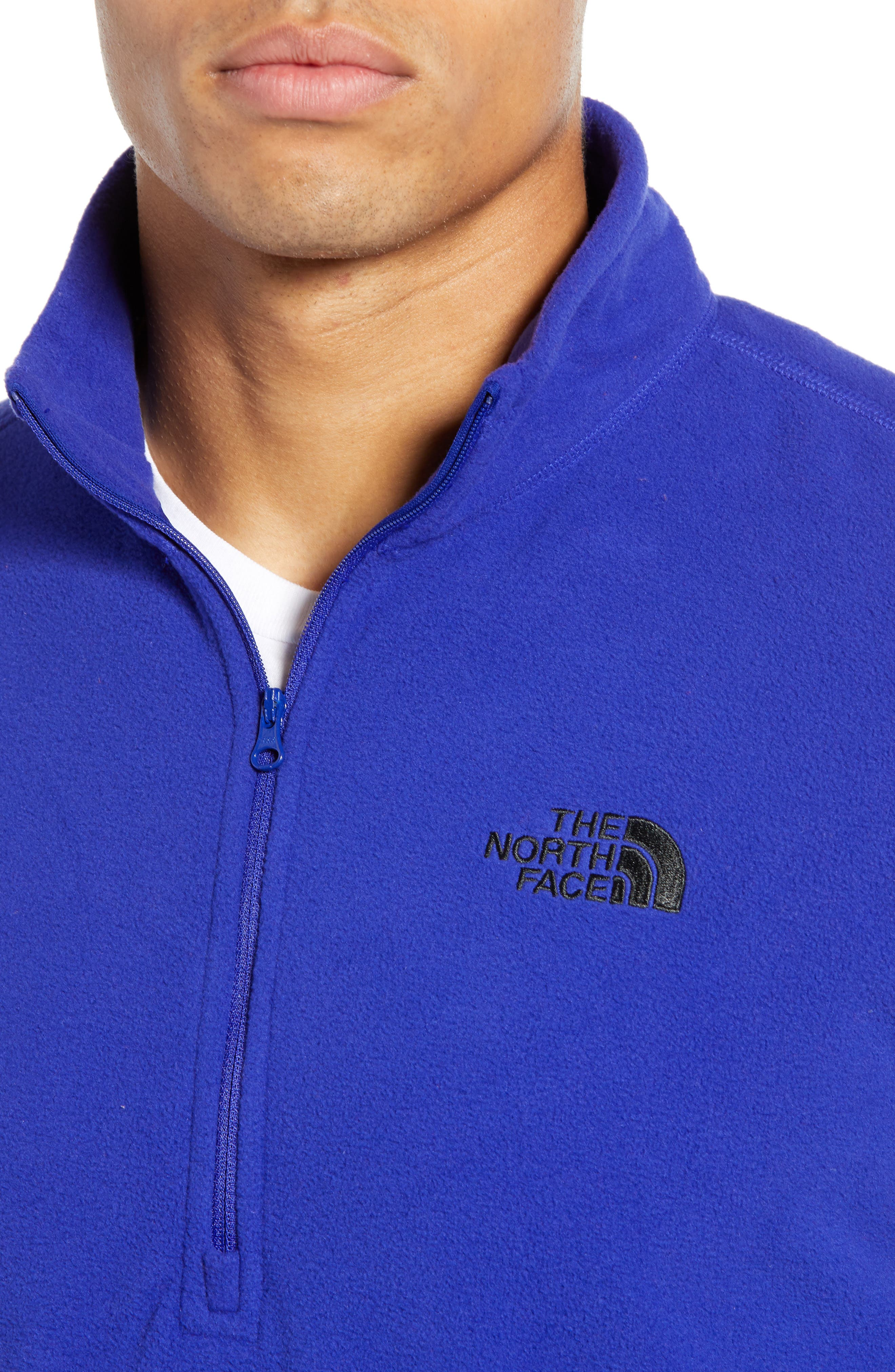 THE NORTH FACE, 'TKA 100 Glacier' Quarter Zip Fleece Pullover, Alternate thumbnail 5, color, AZTEC BLUE
