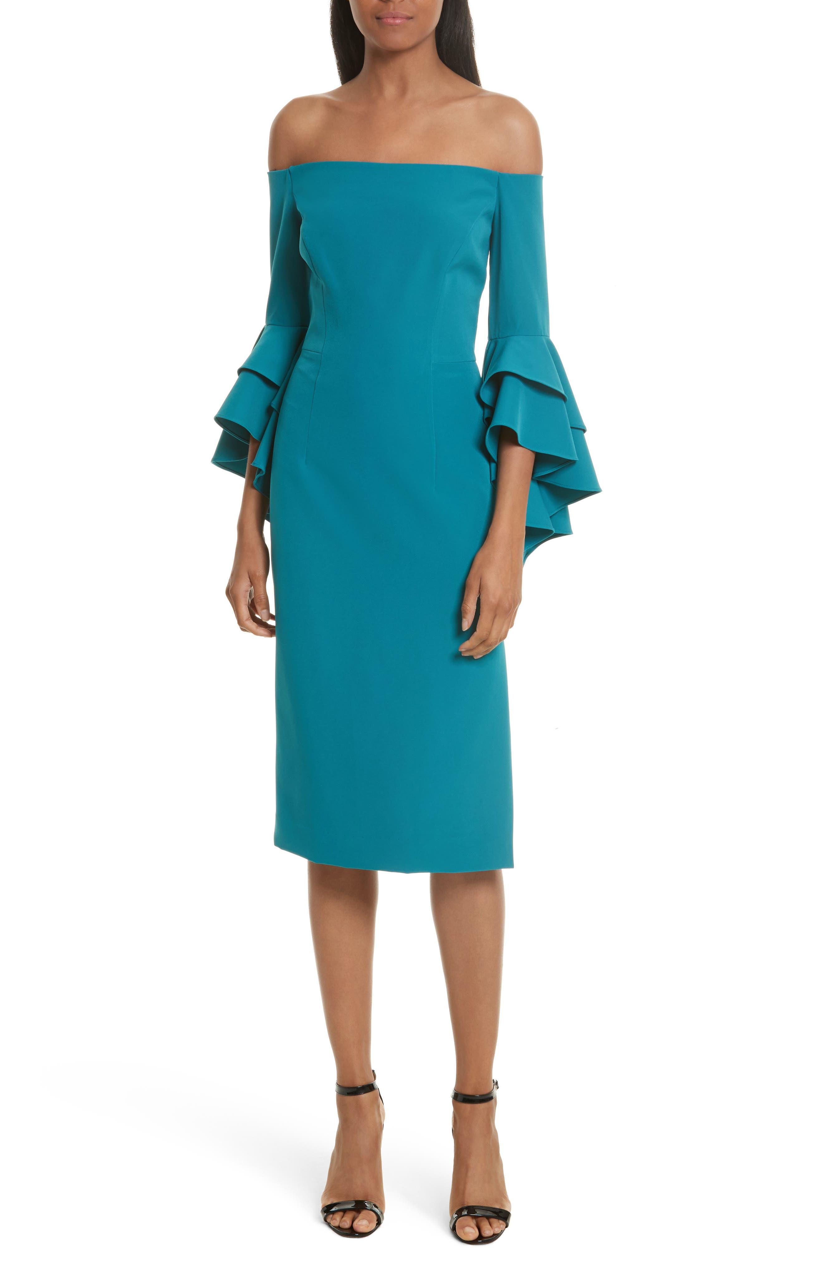 MILLY, Selena Off the Shoulder Midi Dress, Main thumbnail 1, color, 442