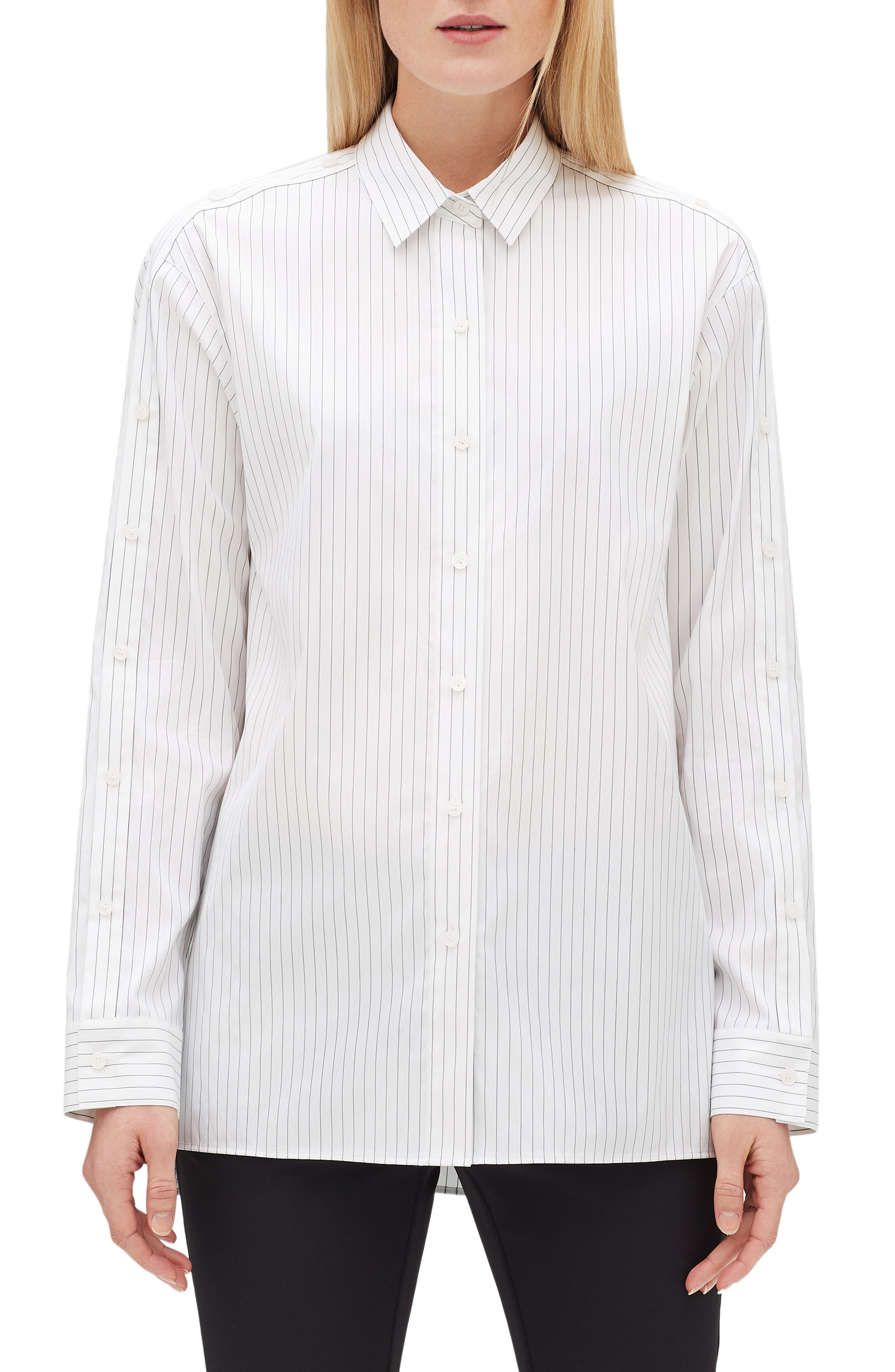 LAFAYETTE 148 NEW YORK Trinity Stanford Stripe Shirt, Main, color, BLACK MULTI