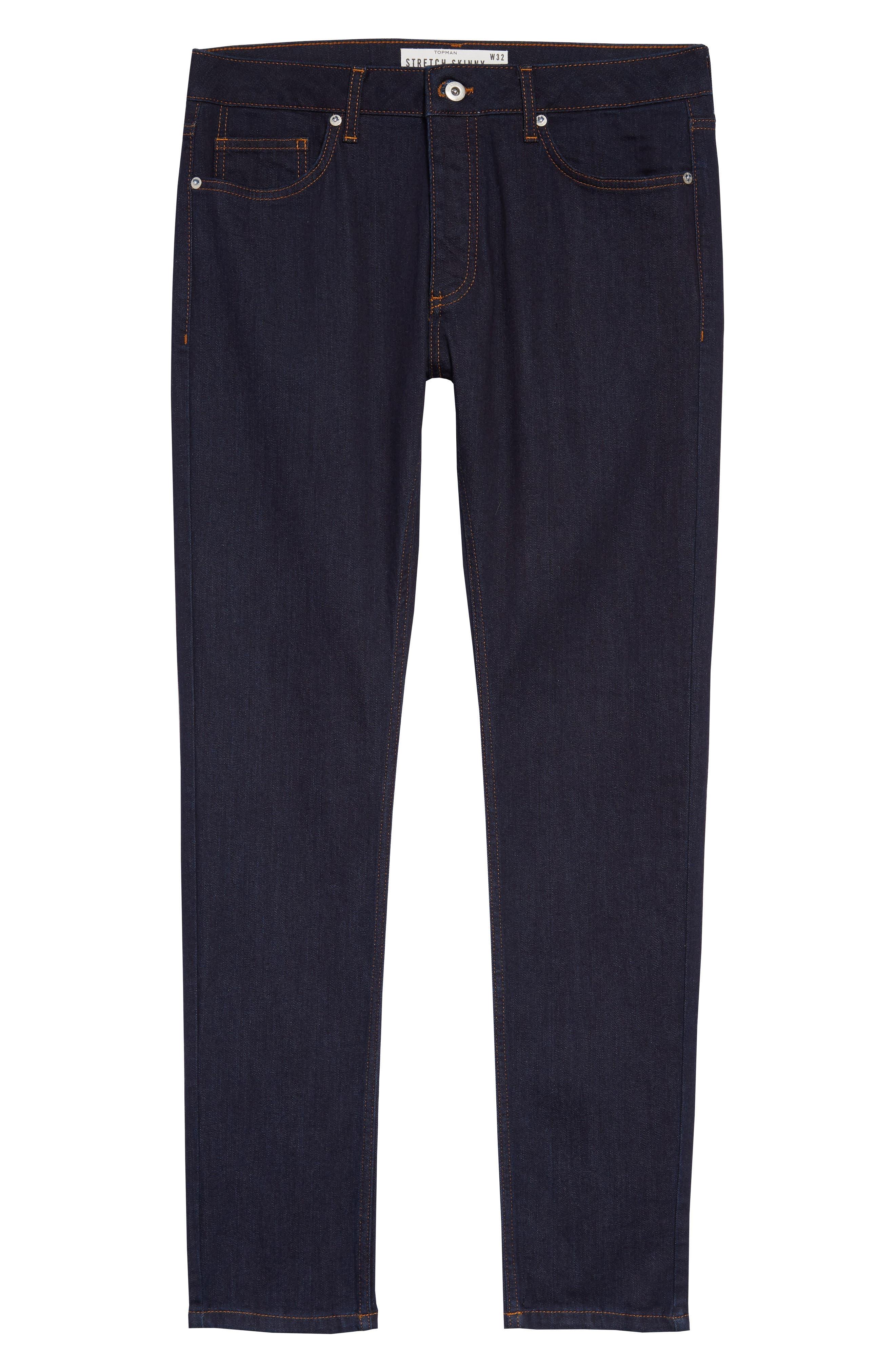 TOPMAN, Stretch Skinny Fit Raw Denim Jeans, Alternate thumbnail 5, color, BLUE