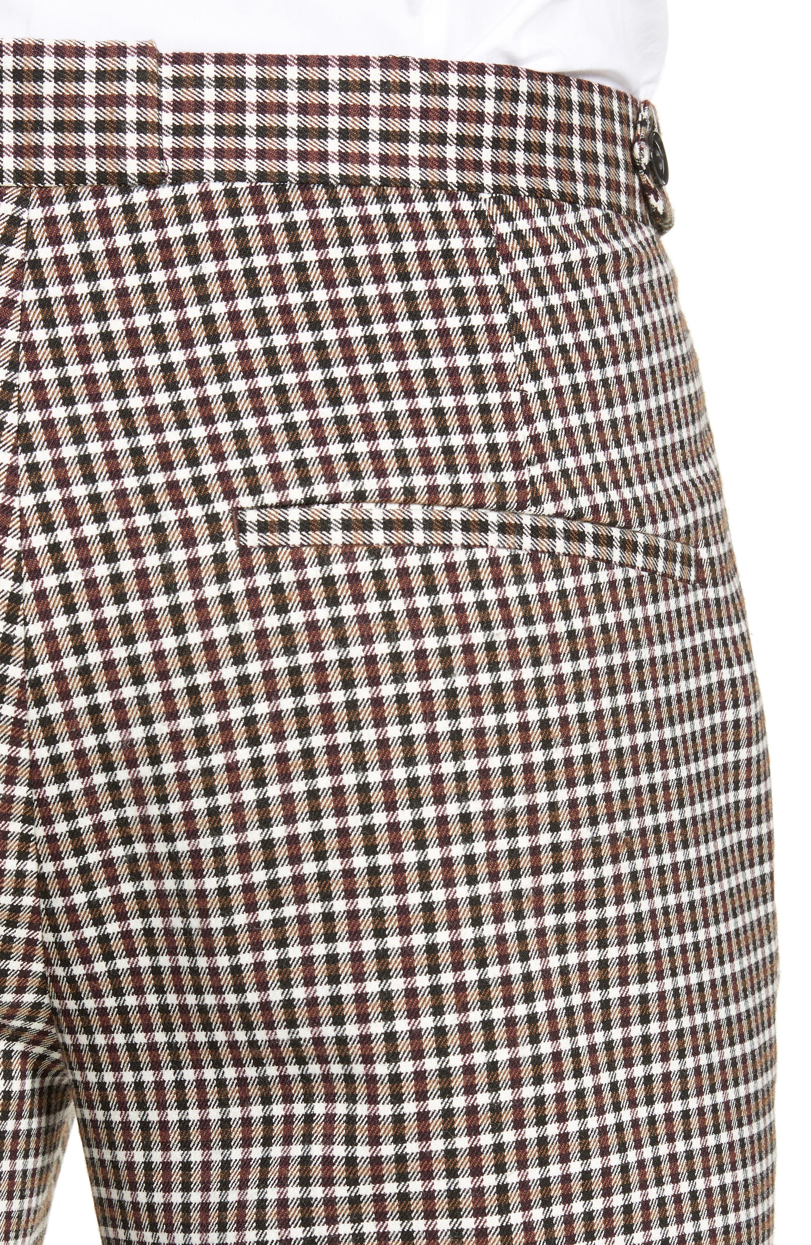 TOPMAN, Multicheck Skinny Fit Trousers, Alternate thumbnail 4, color, BLACK MULTI