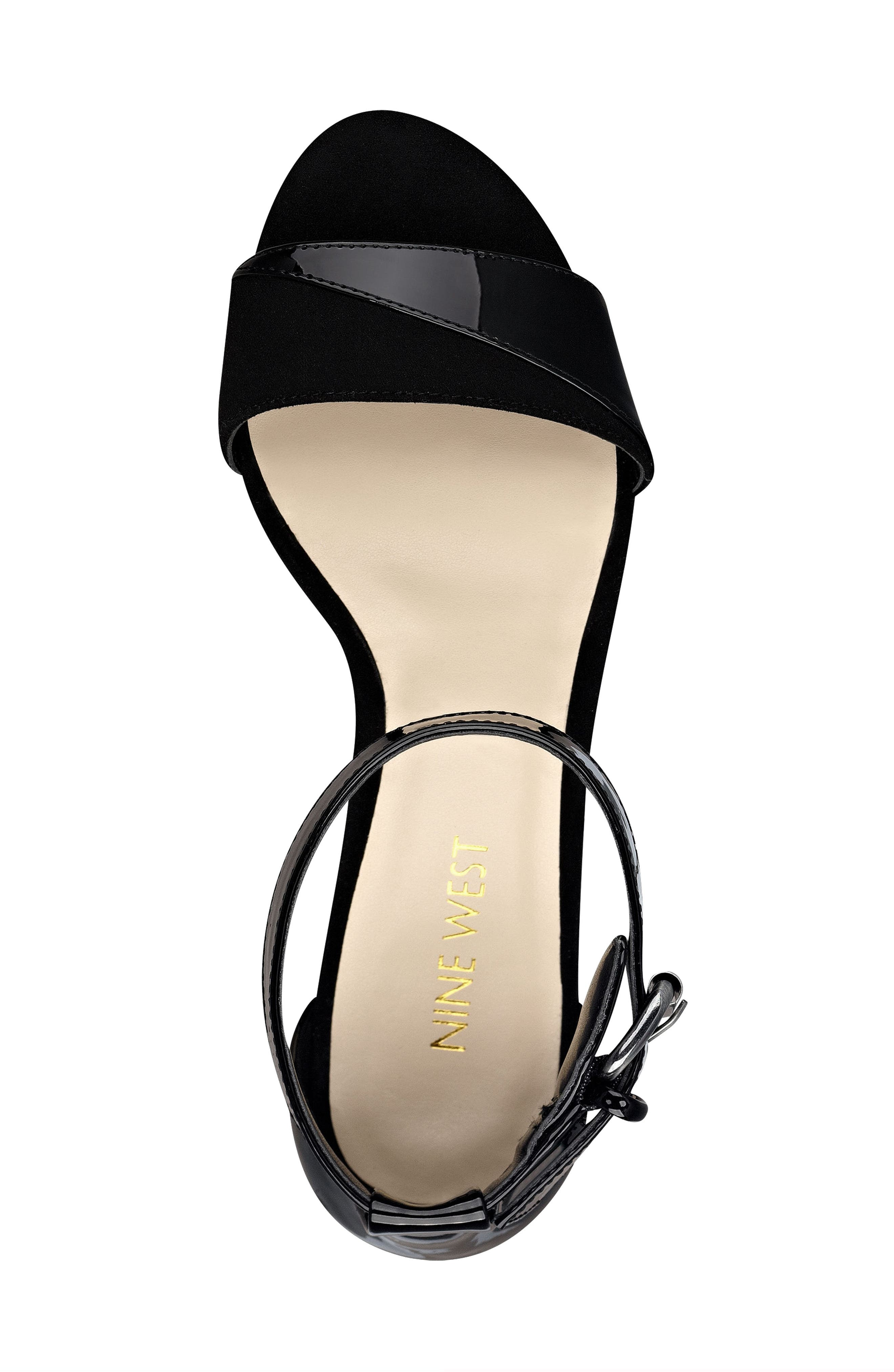 NINE WEST, Pretty Sis Ankle Strap Wedge, Alternate thumbnail 4, color, 001