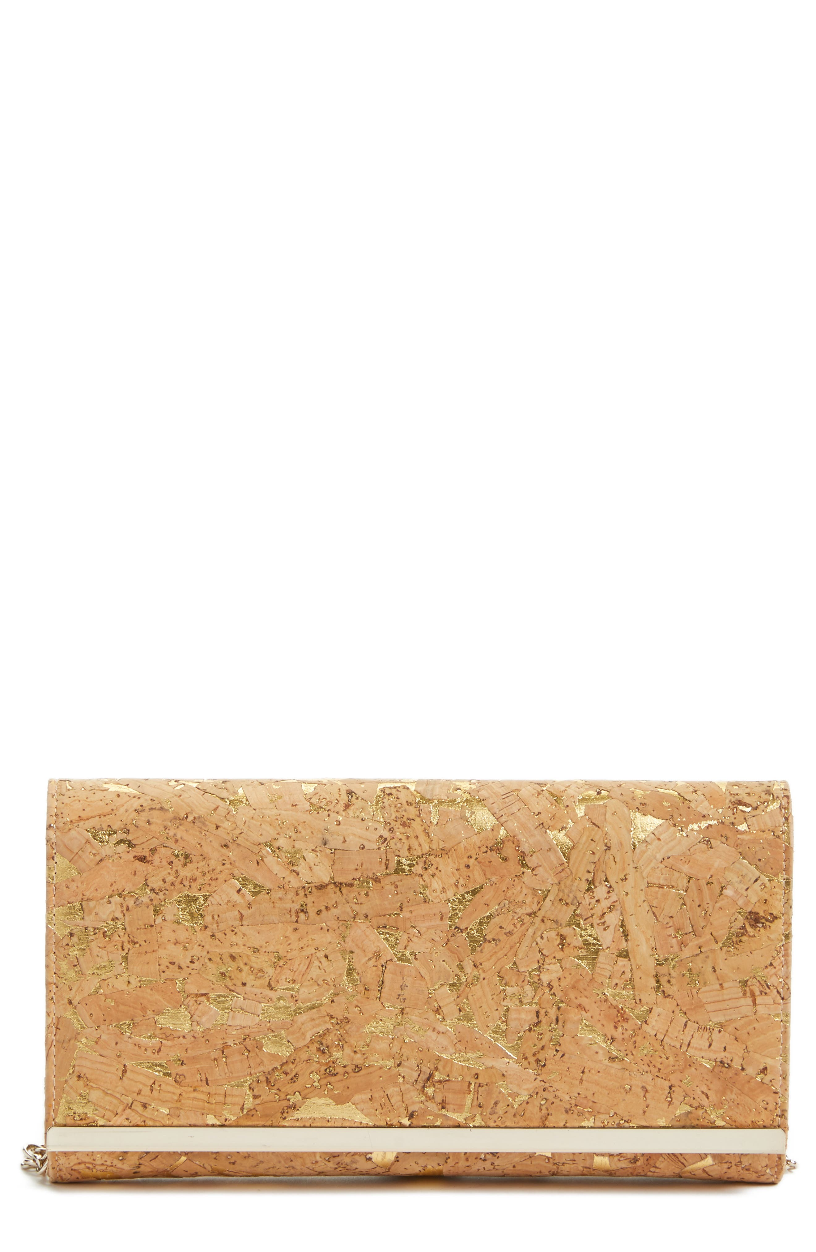 NORDSTROM, Metallic Cork Clutch, Main thumbnail 1, color, NATURAL/GOLD