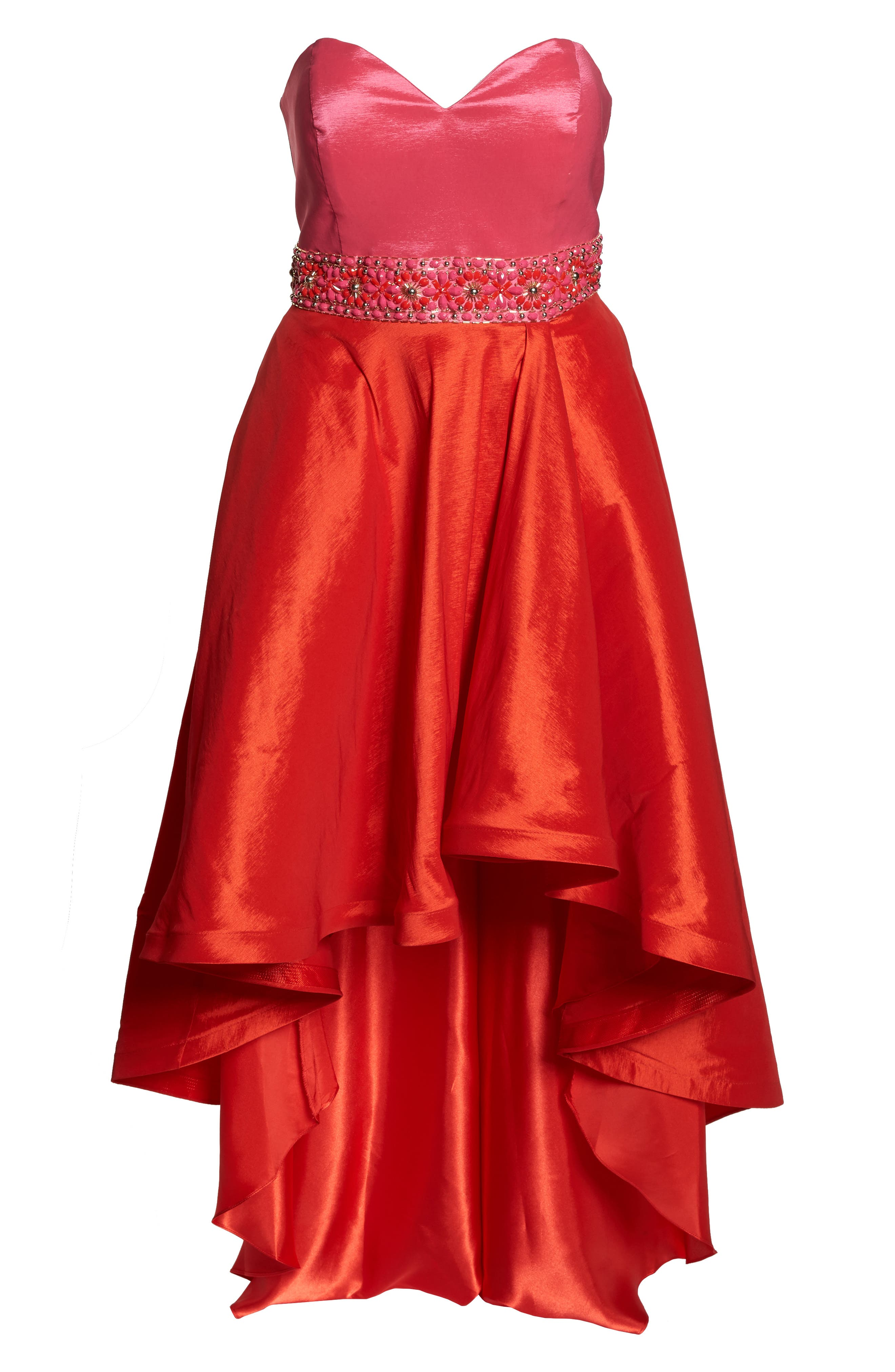 MAC DUGGAL, Strapless Colorblock High/Low Gown, Alternate thumbnail 7, color, 670