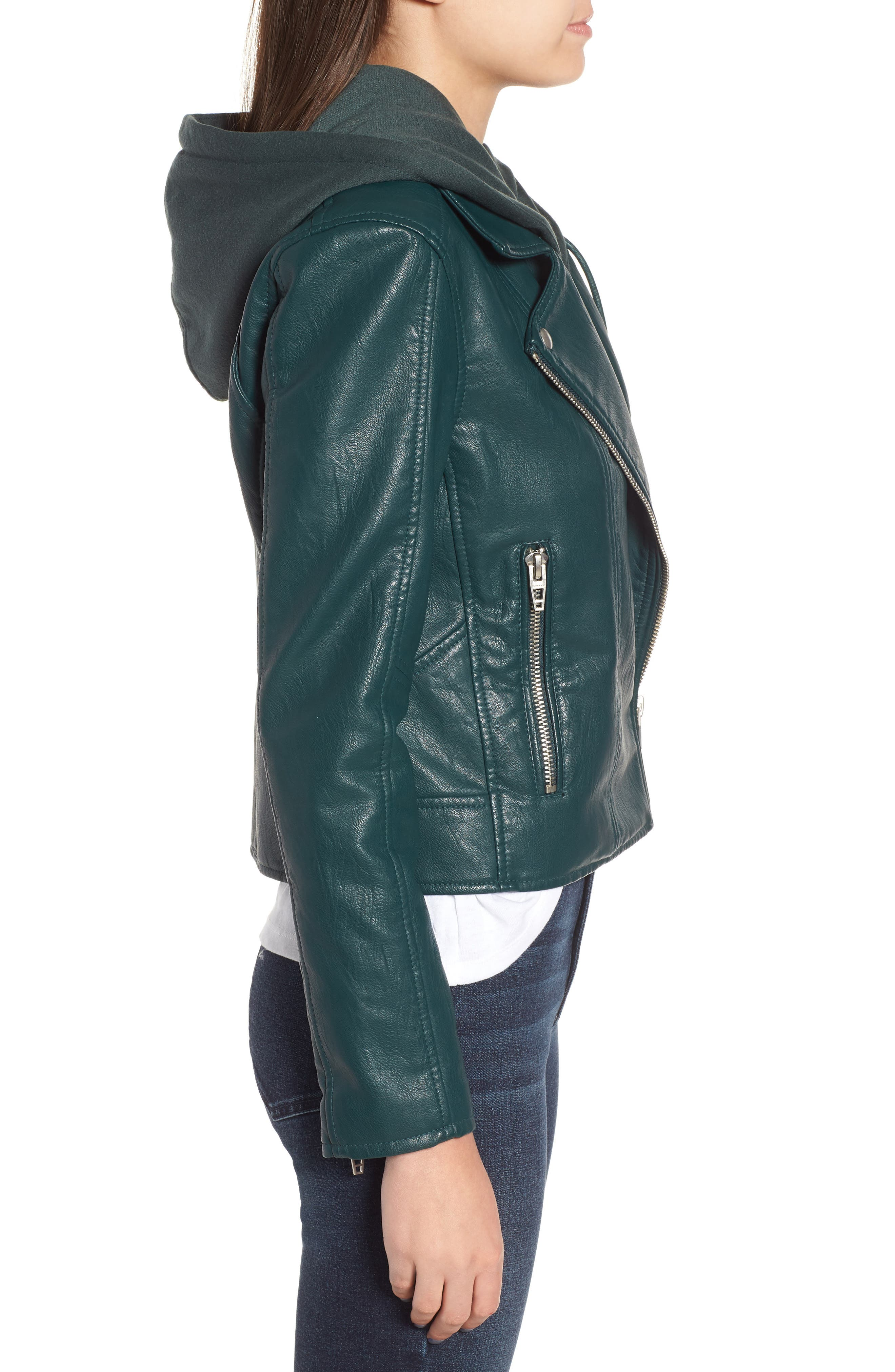 BLANKNYC, Meant to Be Moto Jacket with Removable Hood, Alternate thumbnail 4, color, EVERGREEN
