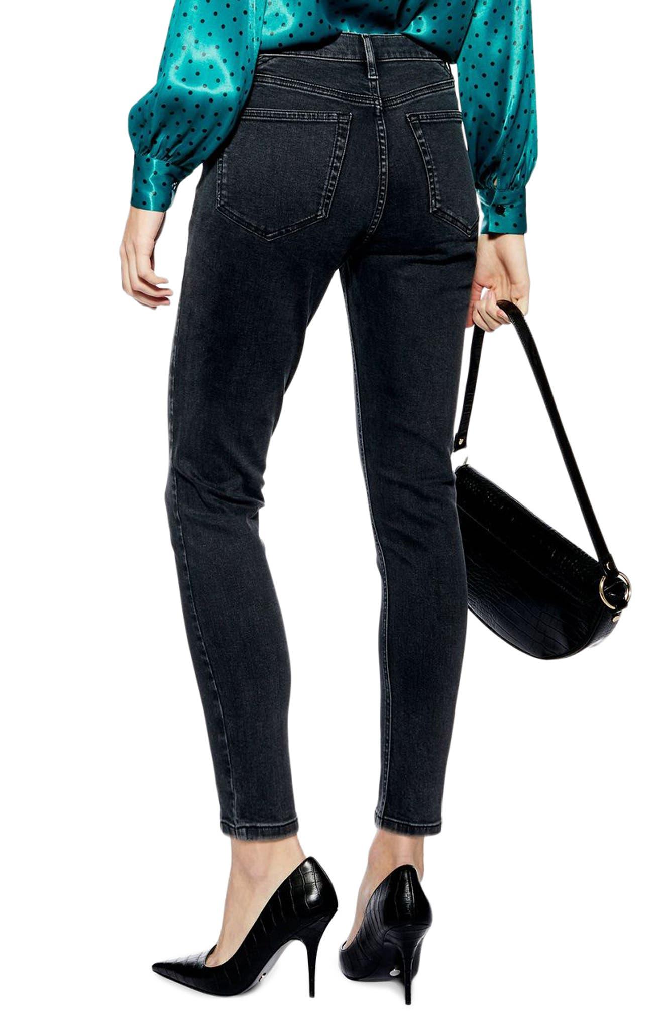 TOPSHOP, Jamie Panel High Waist Skinny Jeans, Alternate thumbnail 2, color, WASHED BLACK