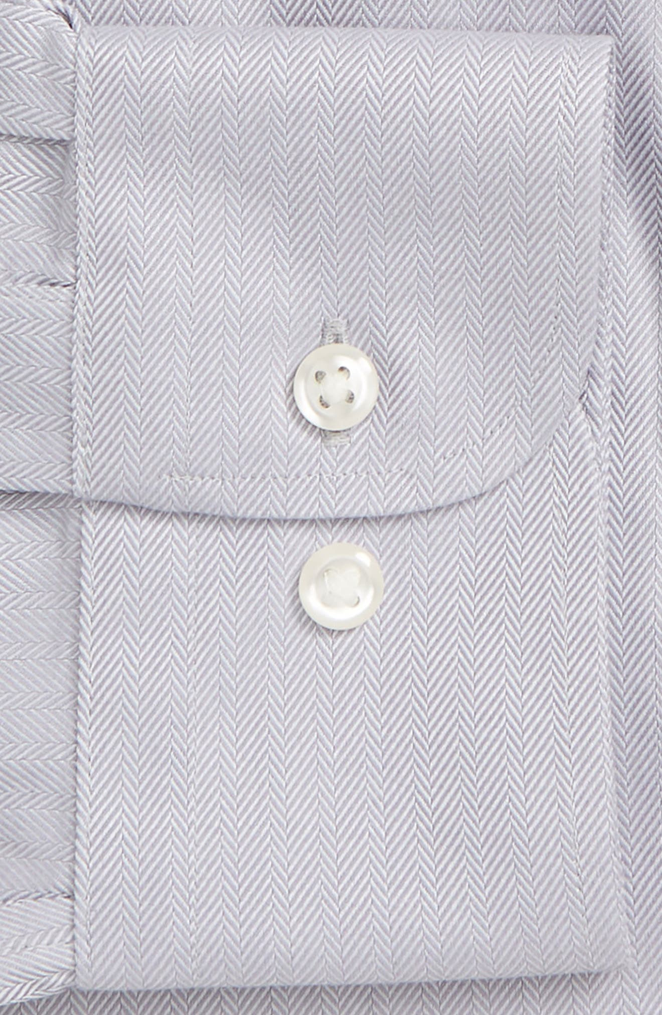 NORDSTROM MEN'S SHOP, Smartcare<sup>™</sup> Trim Fit Herringbone Dress Shirt, Alternate thumbnail 6, color, GREY DECEMBER