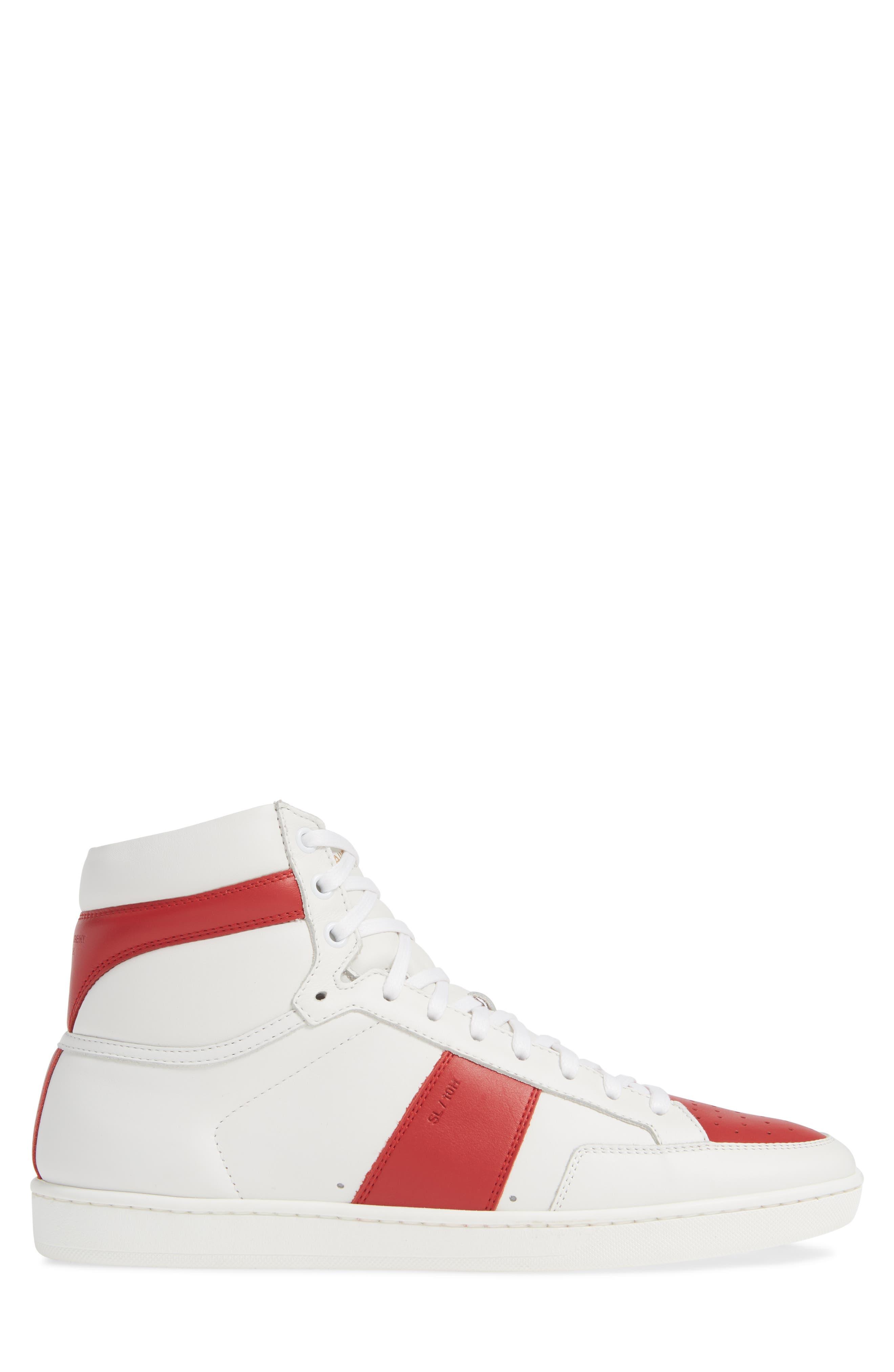 SAINT LAURENT, SL/10H Signature Court Classic High-Top Sneaker, Alternate thumbnail 3, color, WHITE/ MULTI