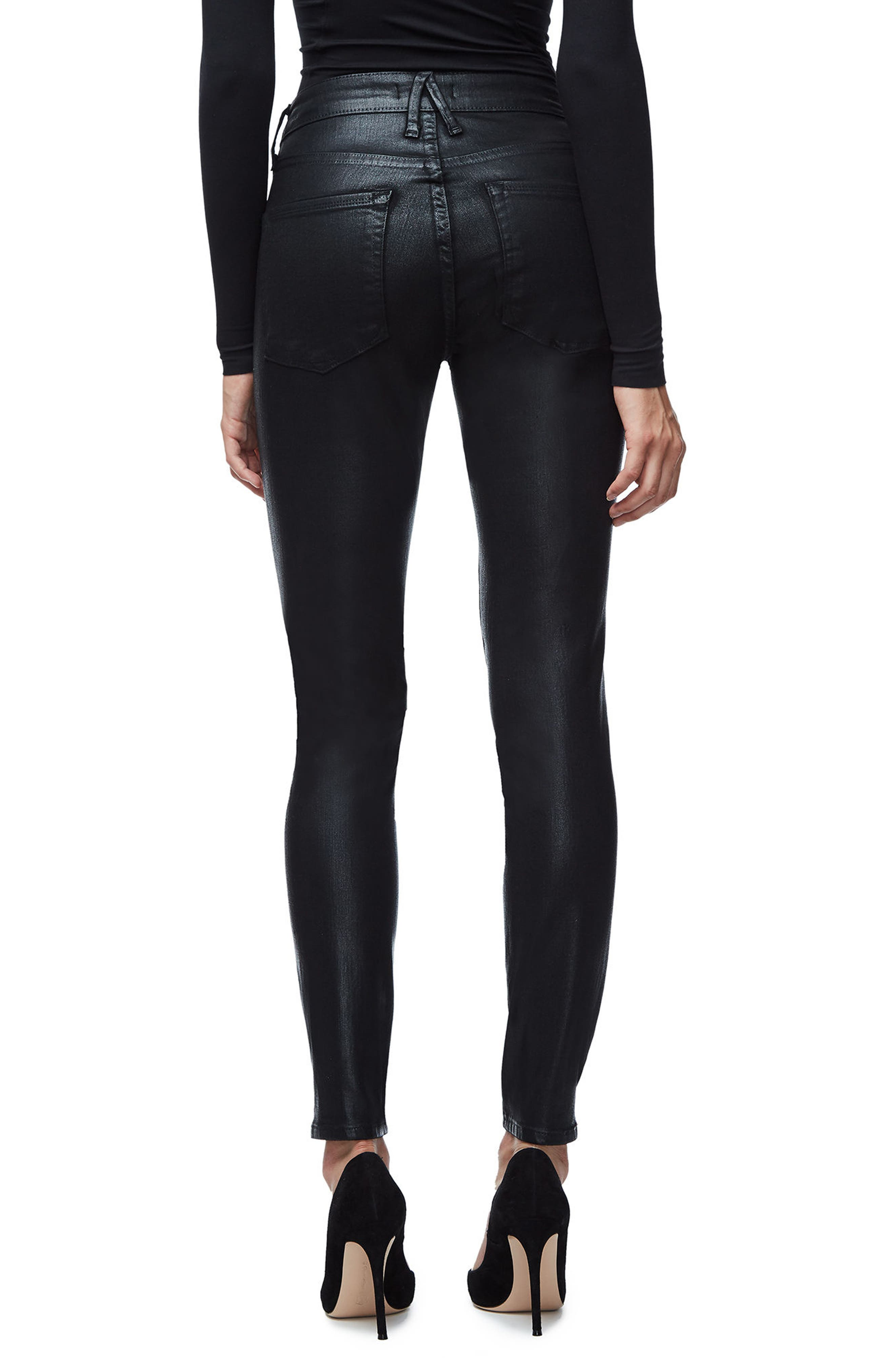 GOOD AMERICAN, Good Legs High Waist Skinny Jeans, Alternate thumbnail 4, color, BLACK