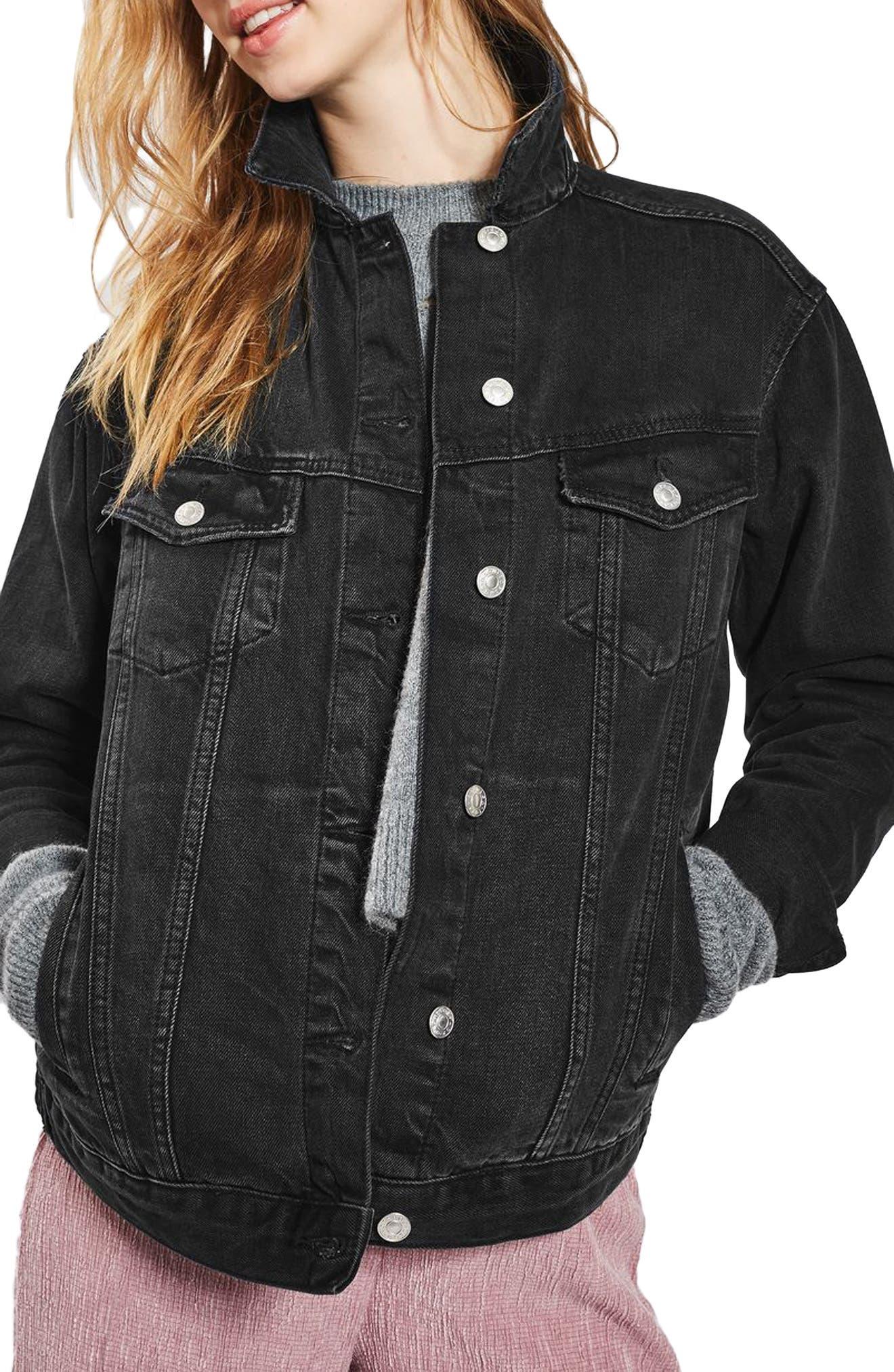 TOPSHOP Oversize Denim Jacket, Main, color, WASHED BLACK