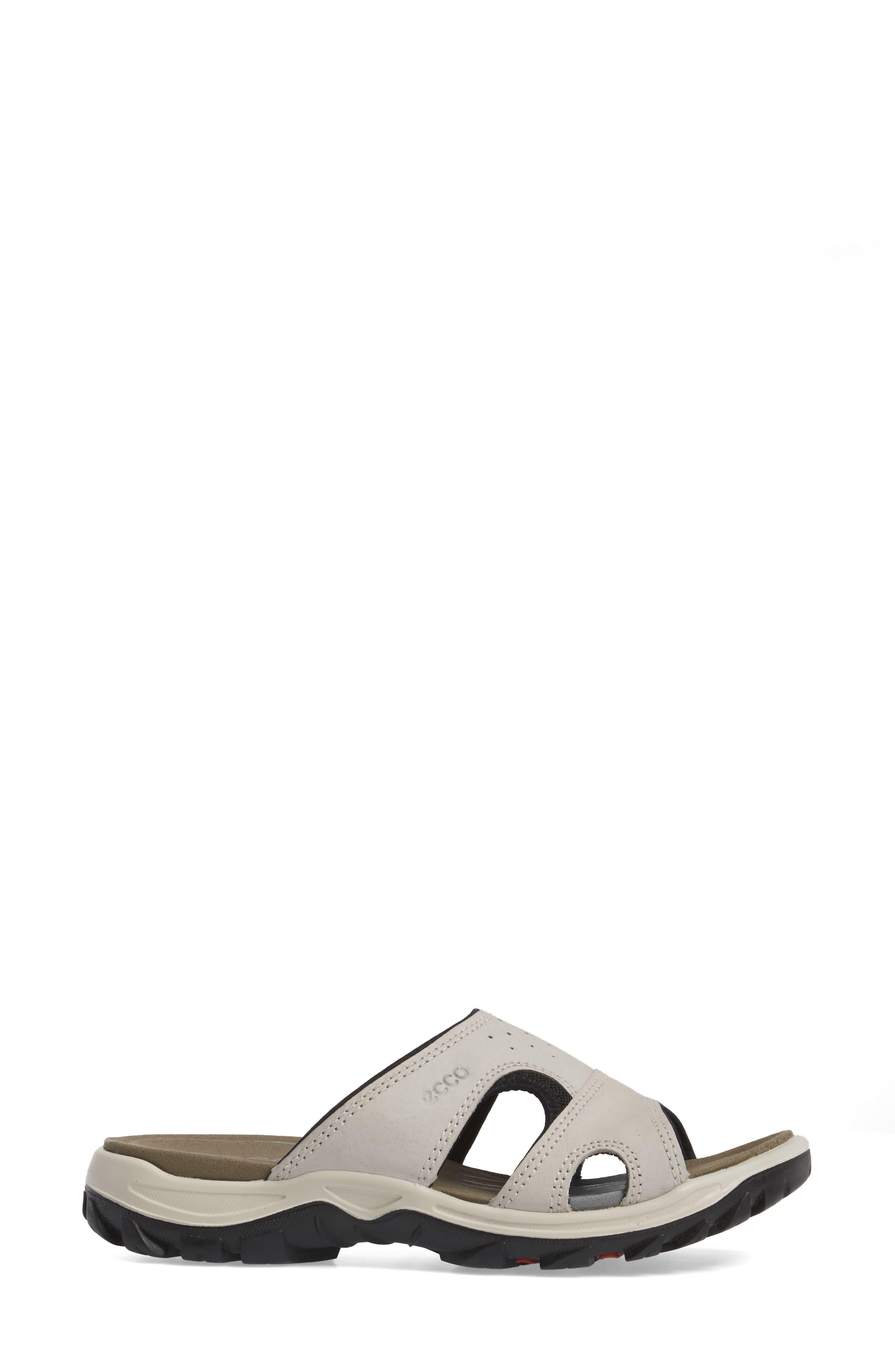 ECCO, Offroad Lite Slide Sandal, Alternate thumbnail 3, color, GRAVEL/ BLACK LEATHER
