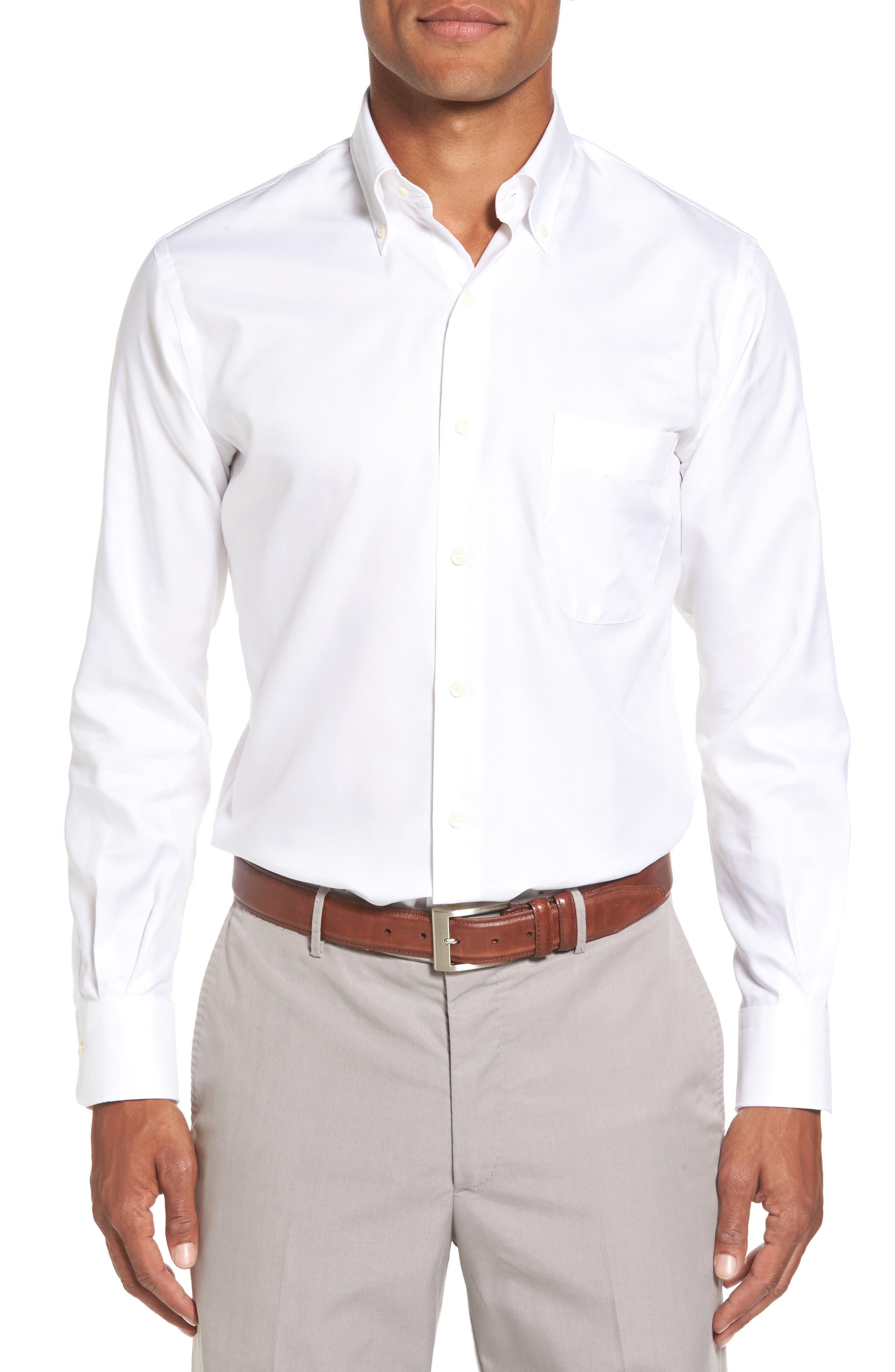 PETER MILLAR, Crown Soft Pinpoint Regular Fit Sport Shirt, Main thumbnail 1, color, WHITE