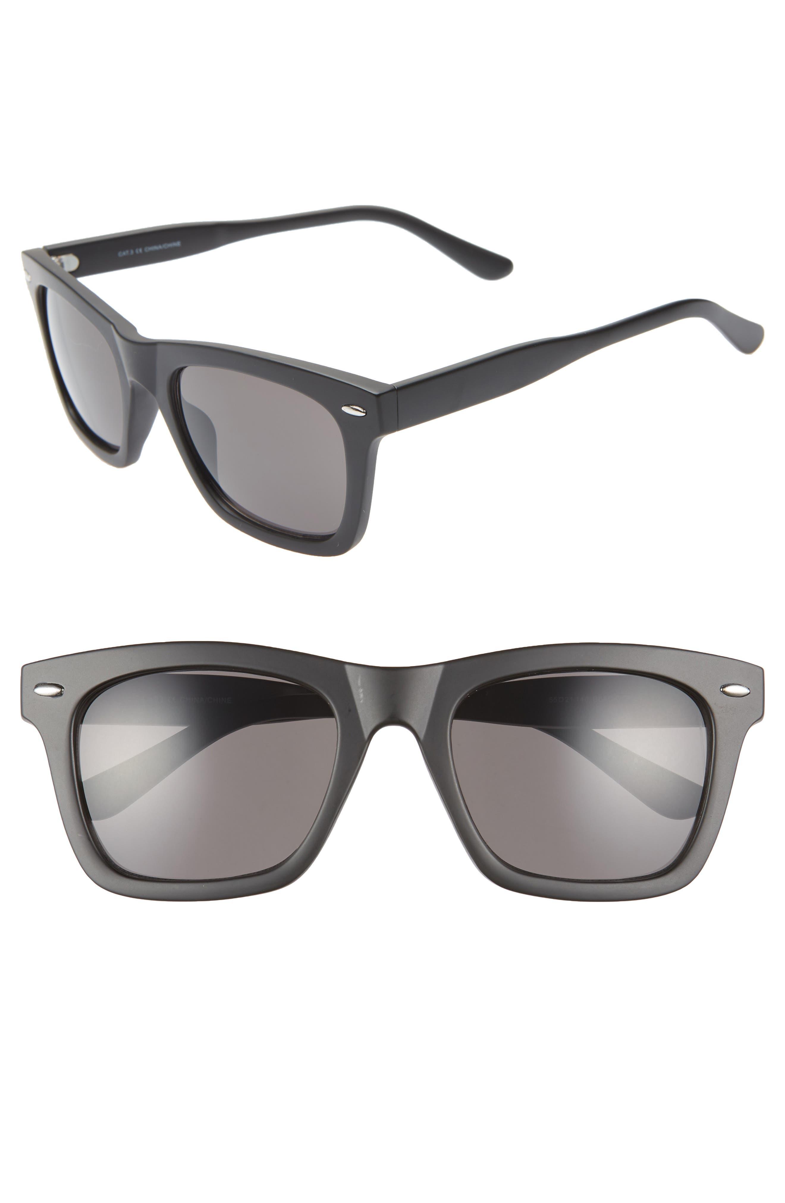 THE RAIL, Julian 55mm Square Sunglasses, Main thumbnail 1, color, BLACK/ CLEAR