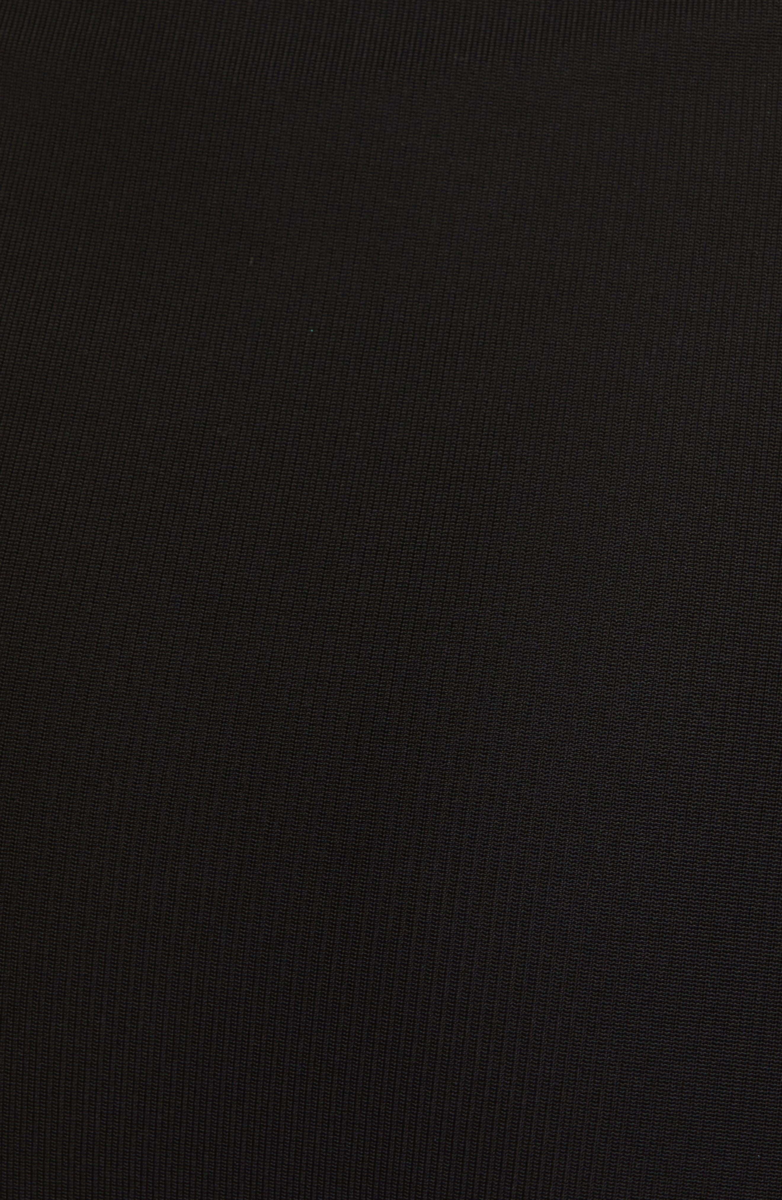 BRANDON MAXWELL, Side Drape Jersey Dress, Alternate thumbnail 6, color, BLACK