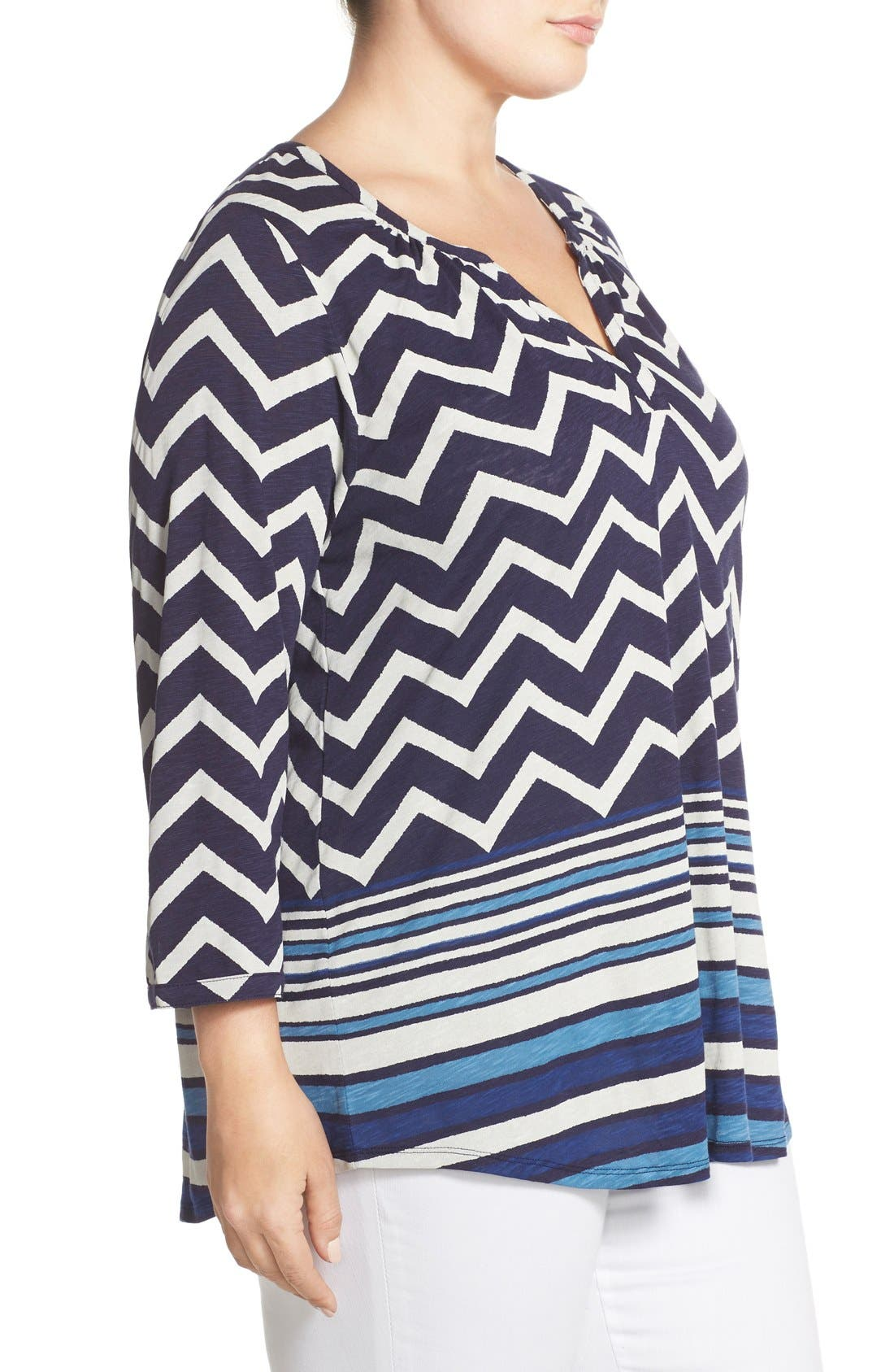 LUCKY BRAND, Chevron Stripe Split Neck Top, Alternate thumbnail 2, color, 400