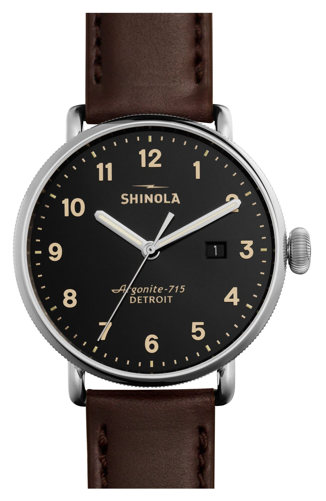 SHINOLA, The Canfield Leather Strap Watch, 43mm, Main thumbnail 1, color, DARK BROWN/ BLACK